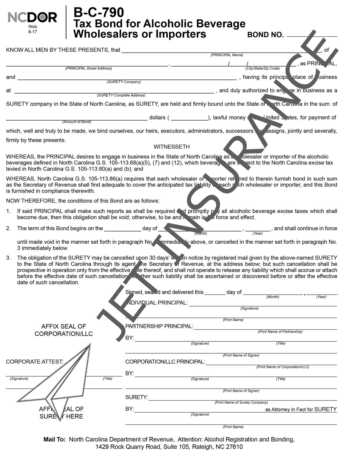North Carolina Alcohol Tax Bond Form
