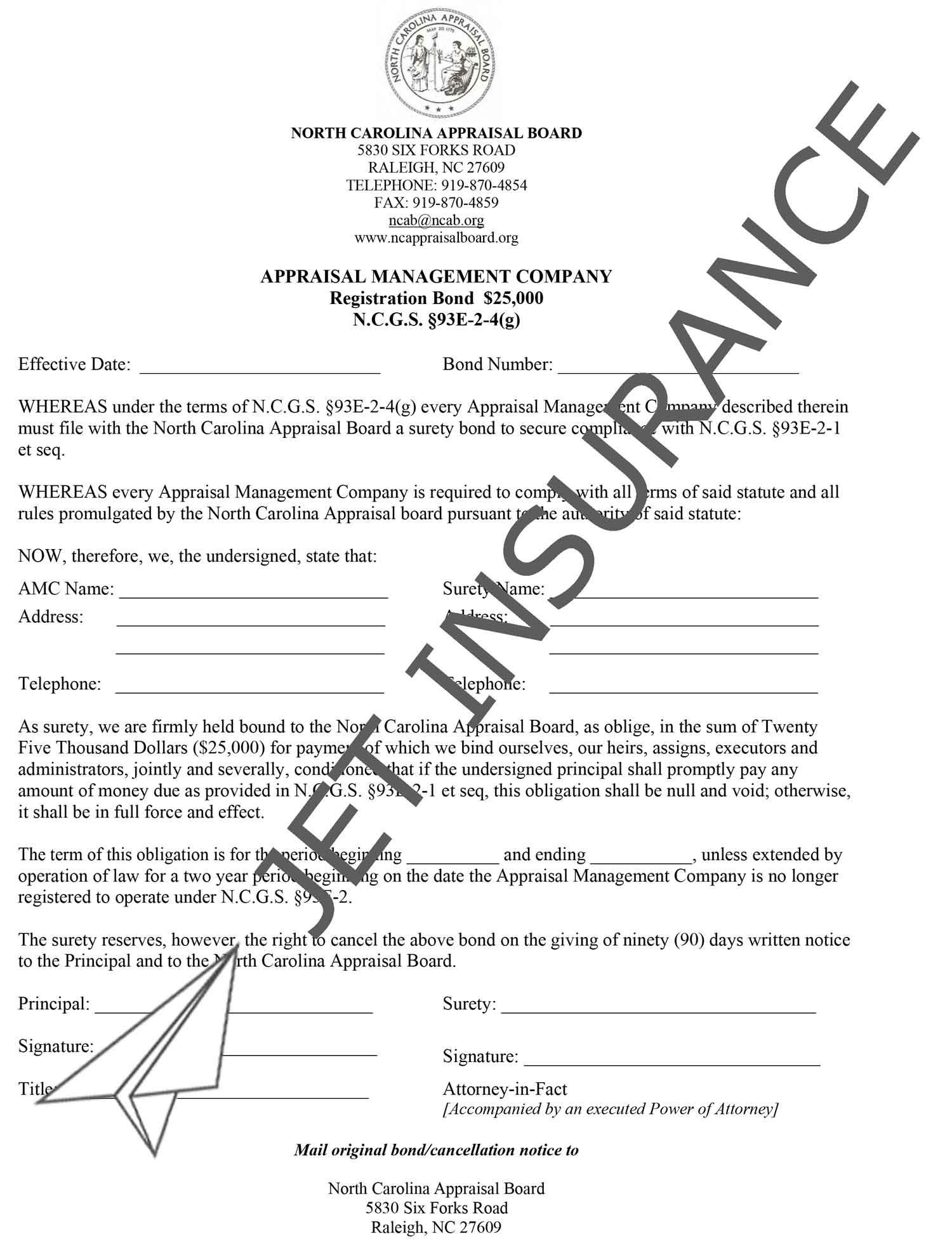 North Carolina Appraisal Management Company Bond Form