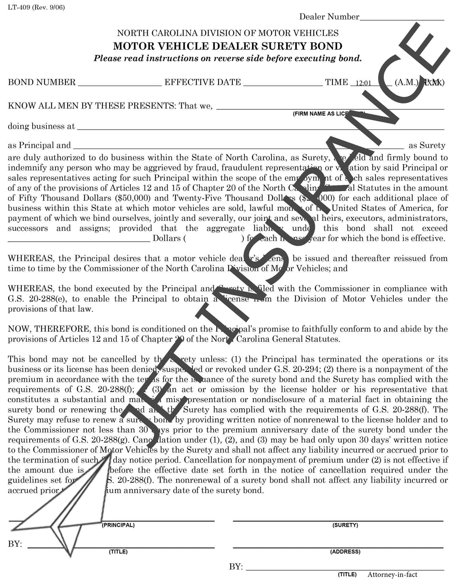 North Carolina Auto Dealer Bond Form