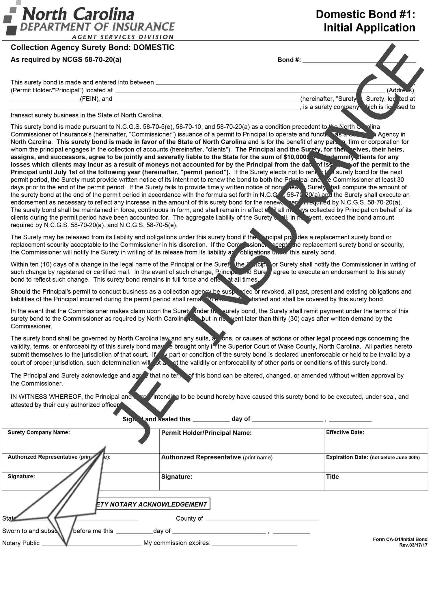 North Carolina Collection Agency Bonds Form