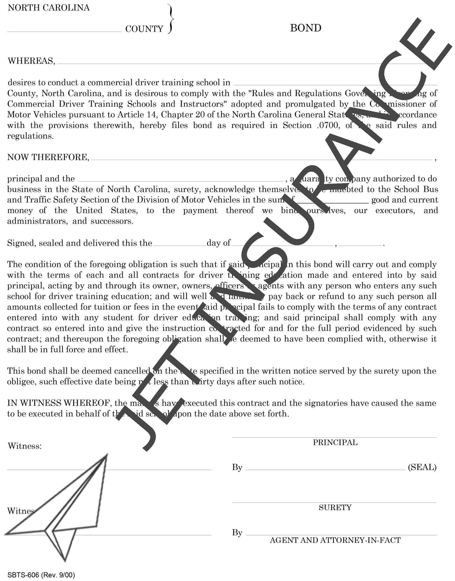 North Carolina Commercial Driver Training School Bond Form