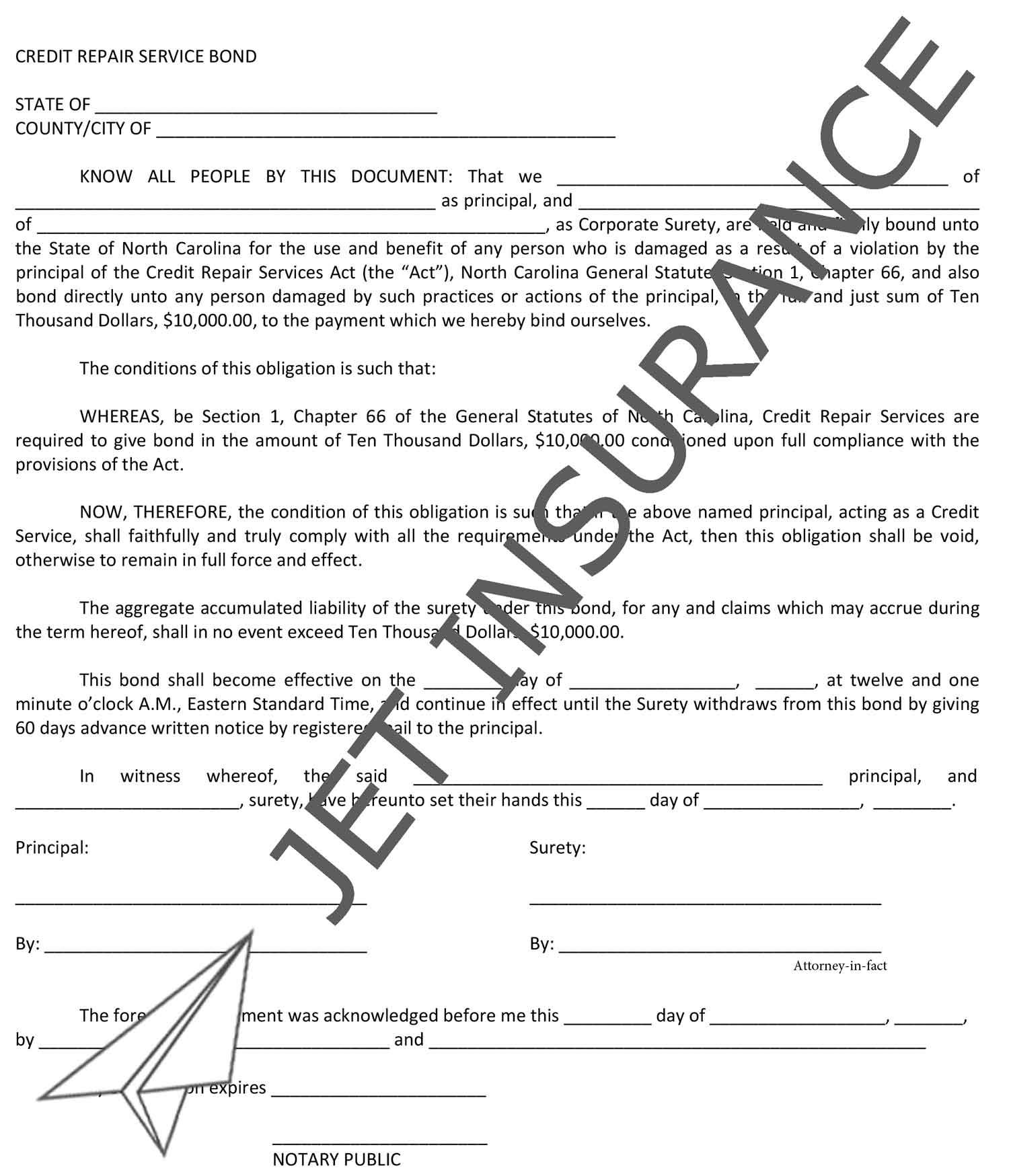 North Carolina Credit Repair Service Bond Form