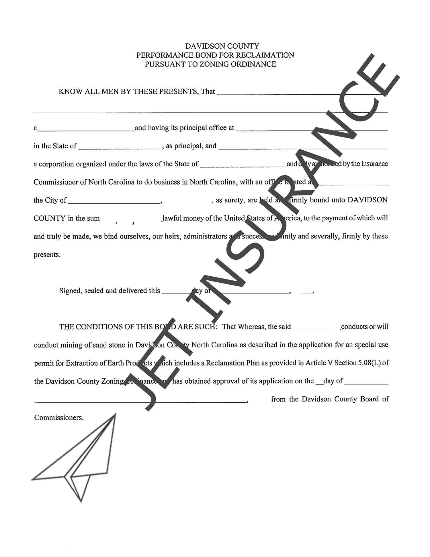 North Carolina Davidson County Zoning Ordinance Reclamation Bond Form