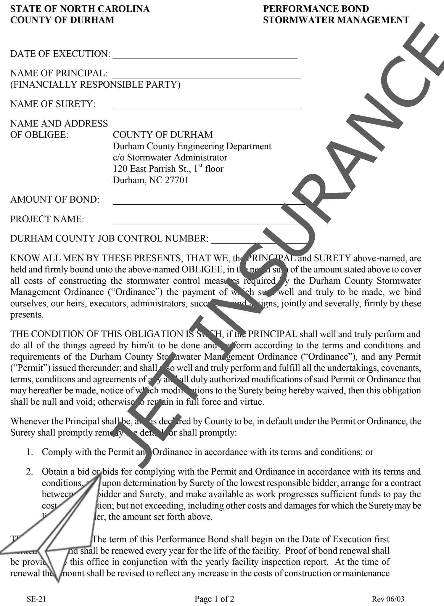 Durham County North Carolina Stormwater Management Bond Form