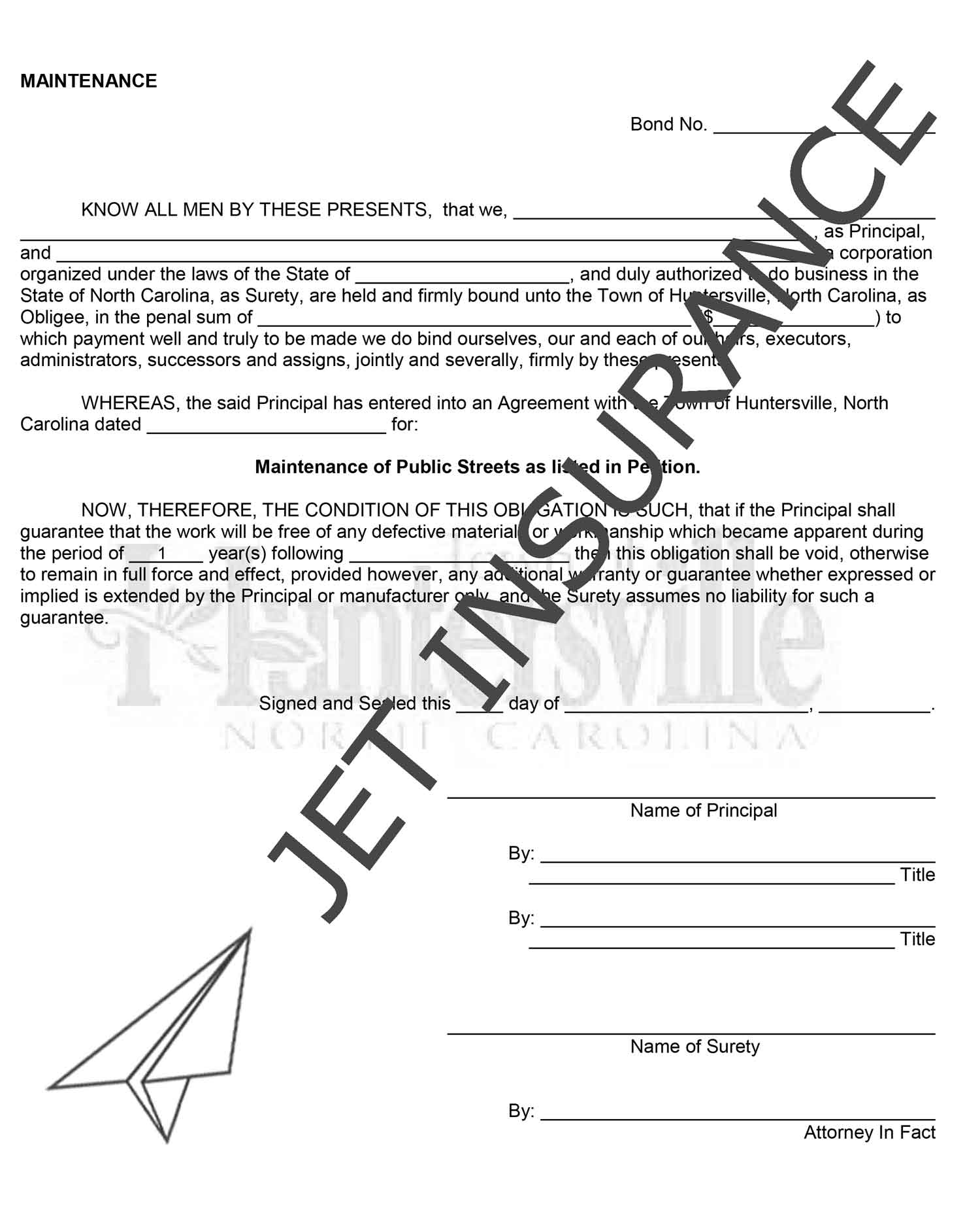 Huntersville North Carolina Land Development and Maintenance Bond Form
