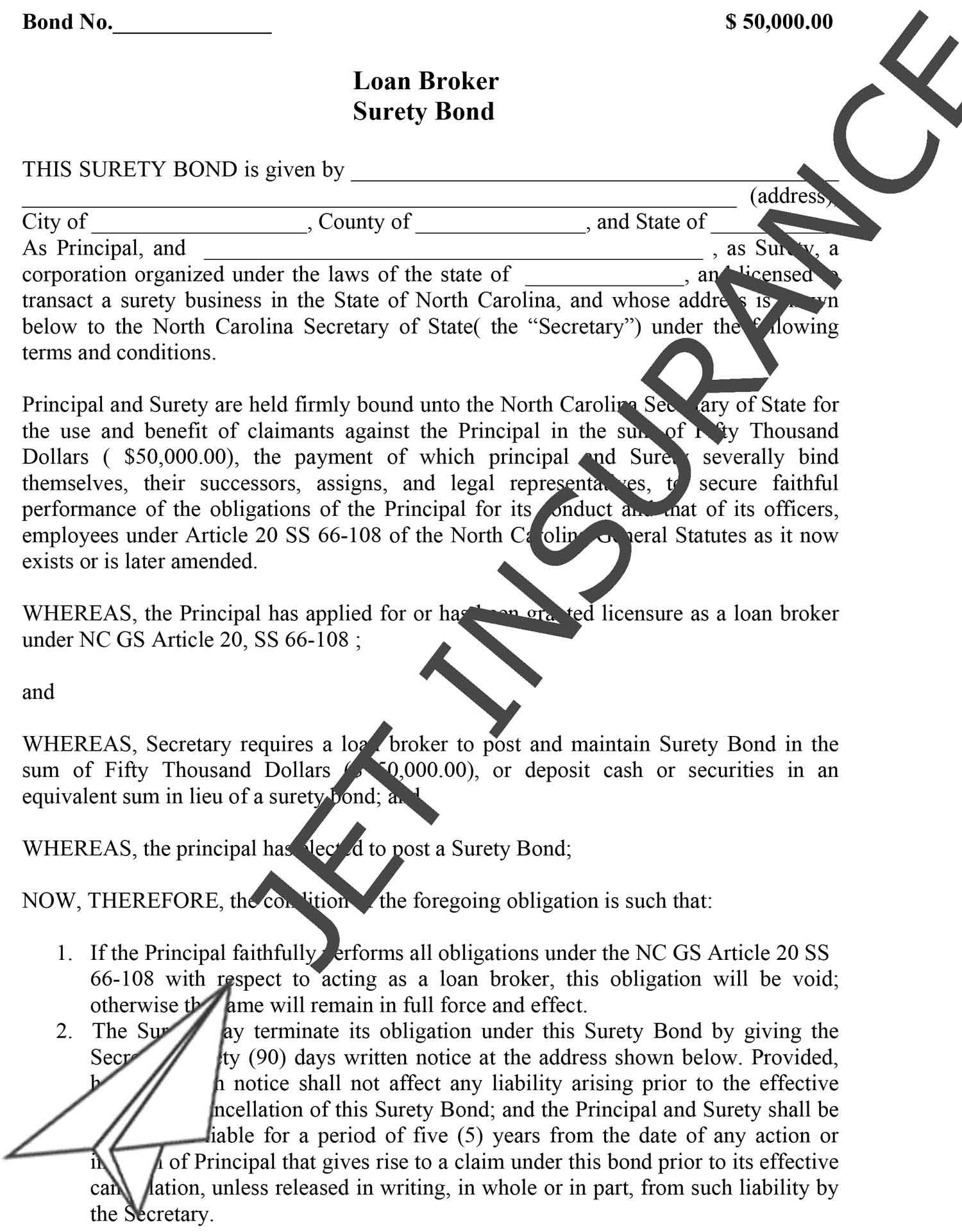 North Carolina Loan Broker Bond Form