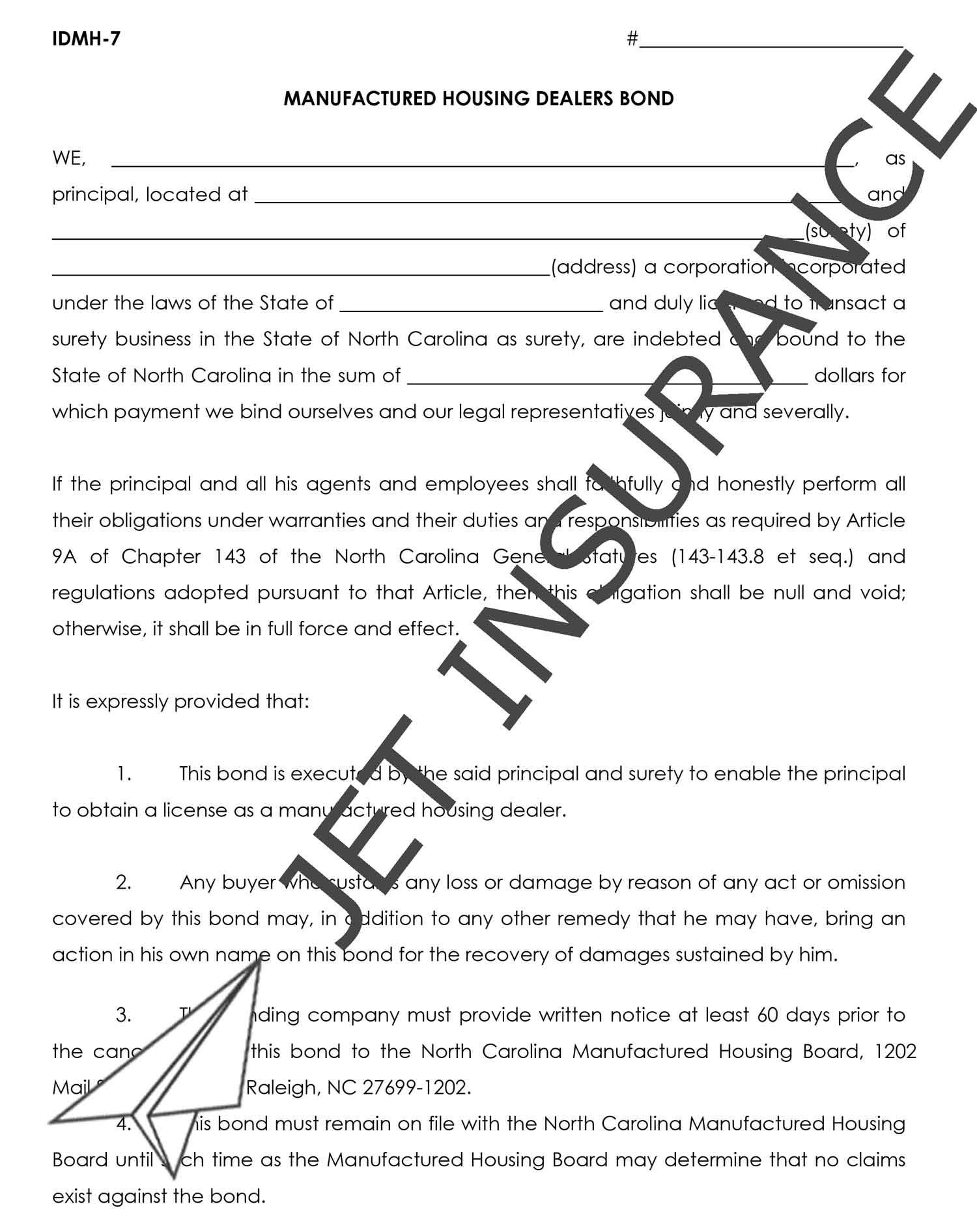 North Carolina Manufactured Housing Dealer Bond Form