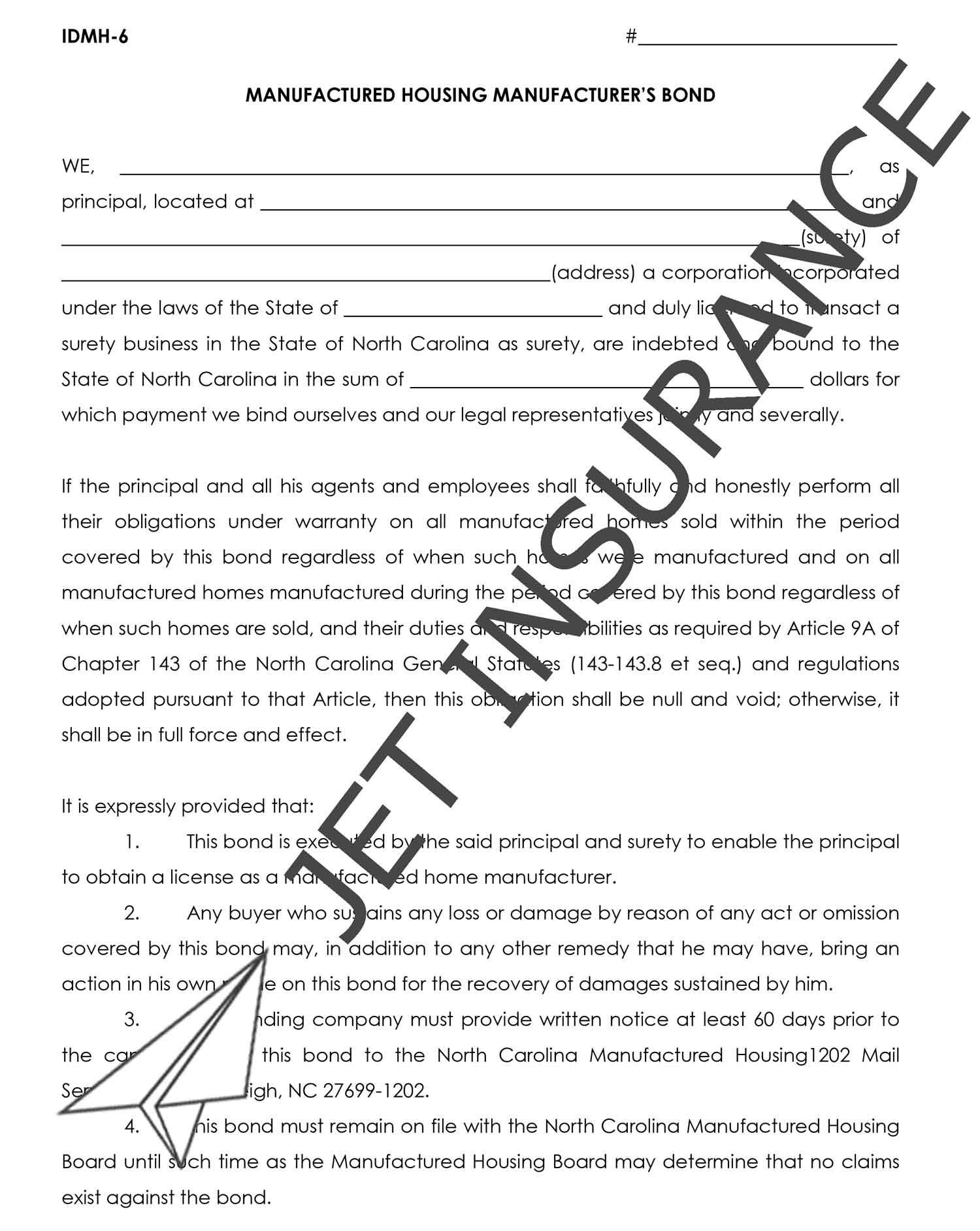 North Carolina Manufactured Housing Manufacturer's Bond Form