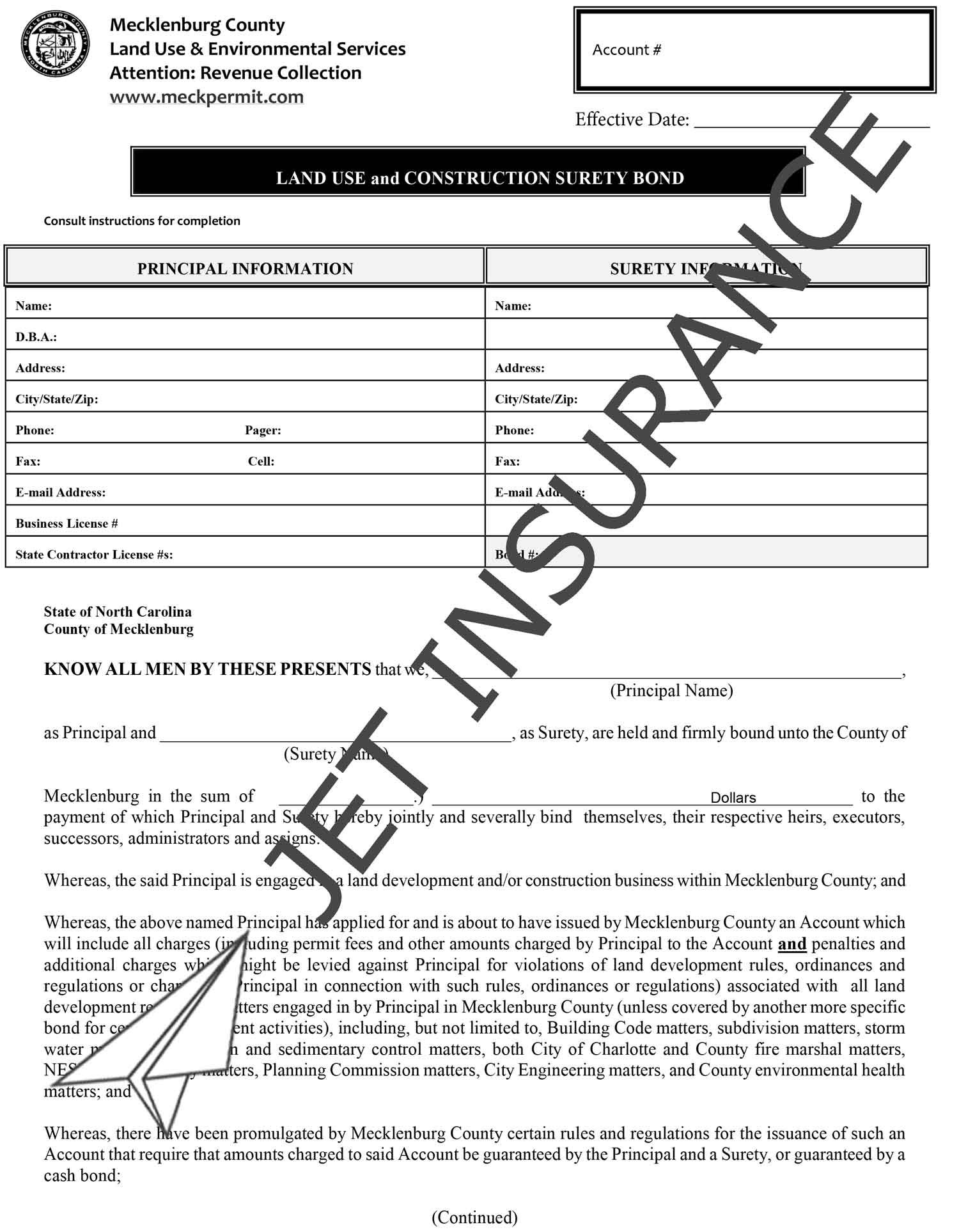 Mecklenburg County North Carolina Land Use and Construction Bond Form
