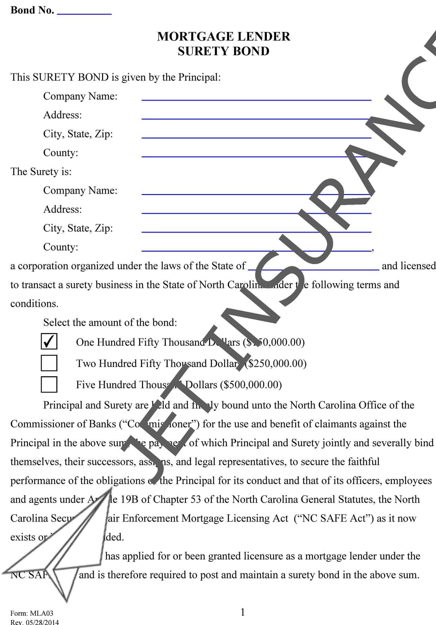 North Carolina Mortgage Lender Bond Form