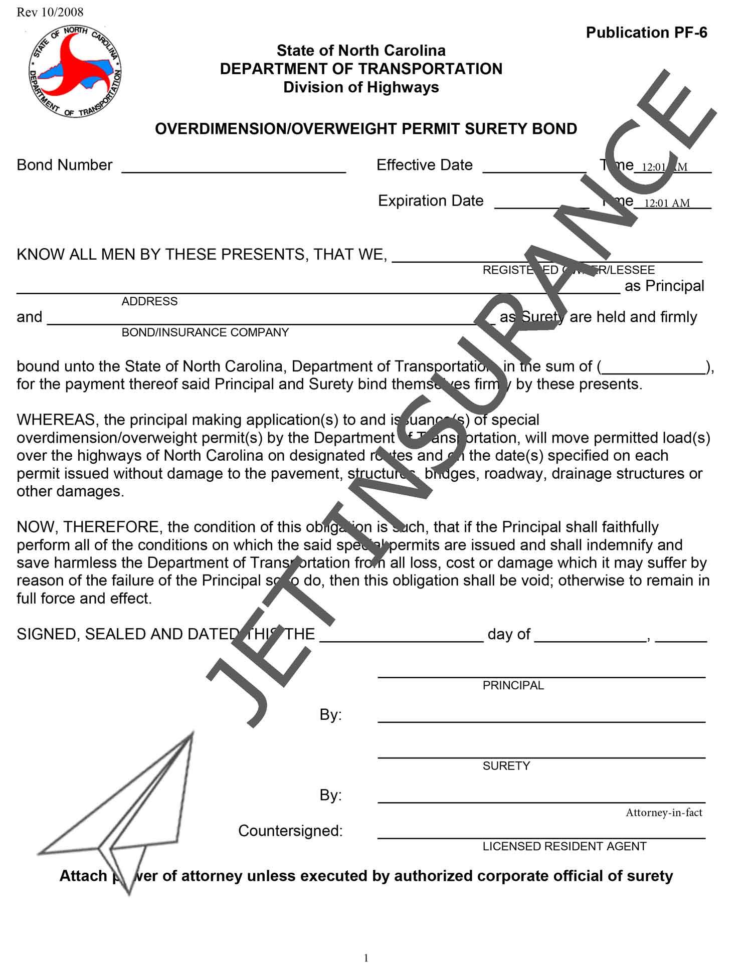 North Carolina Oversize or Overweight Permit Bond Form