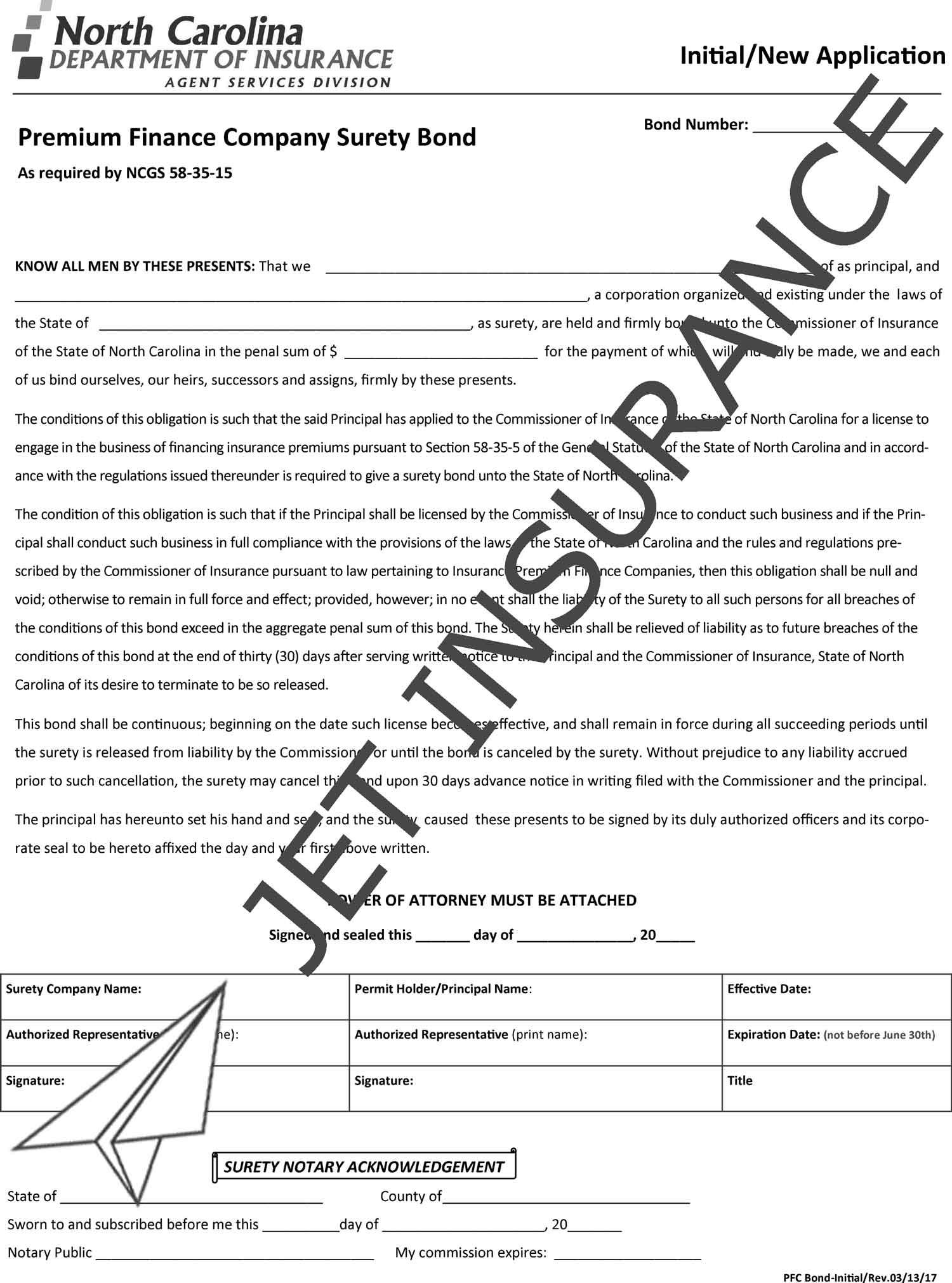 North Carolina Premium Finance Company Bond Form