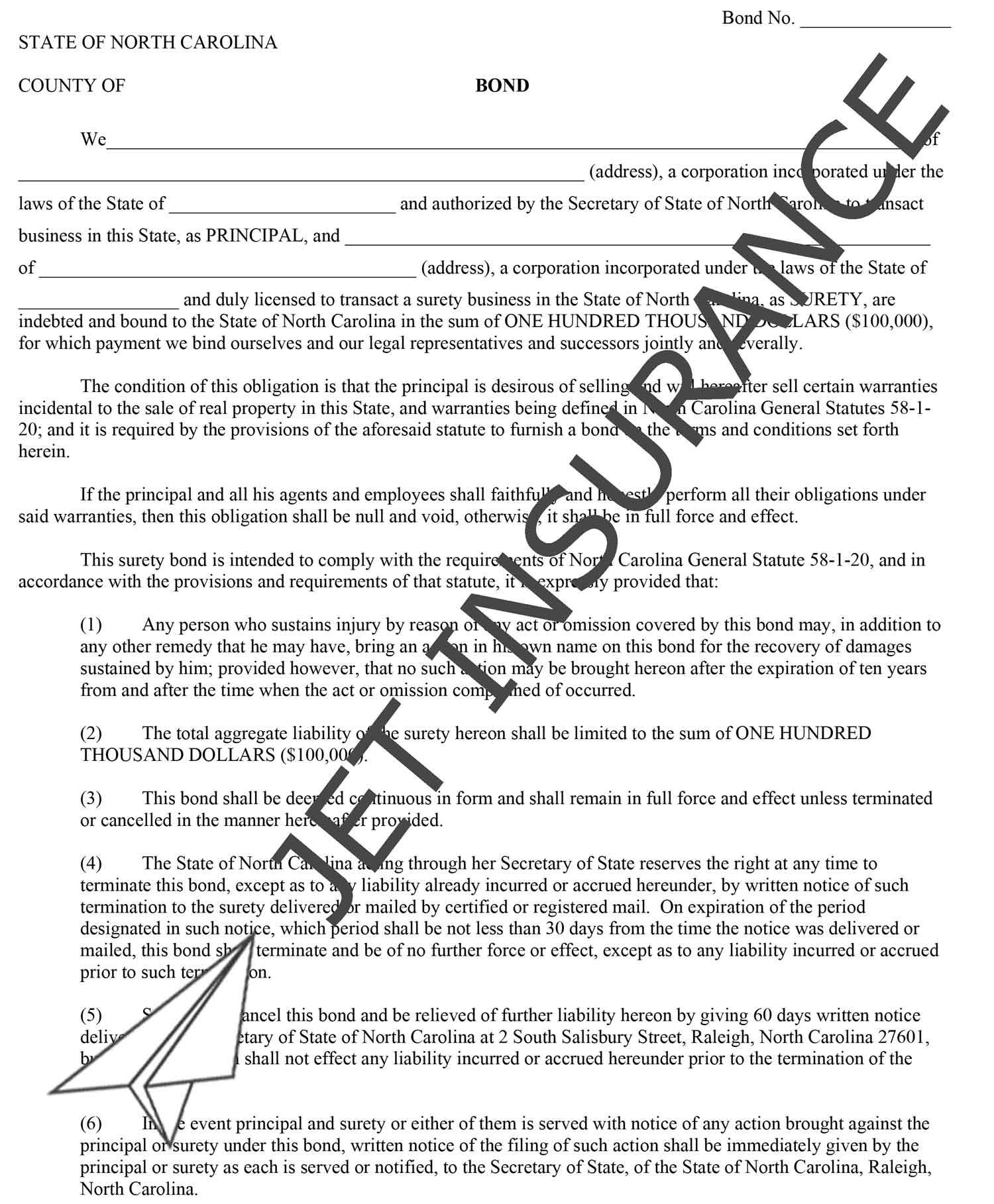 North Carolina Property Warranty Bond Form