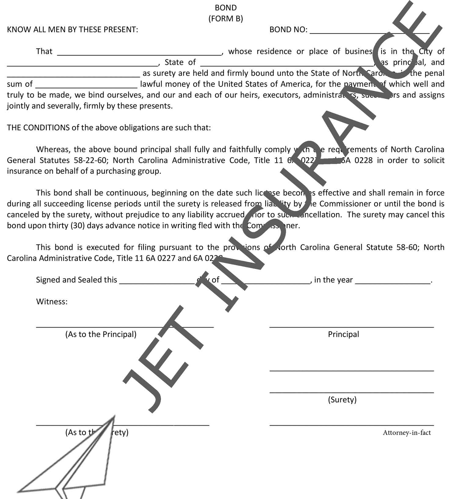 North Carolina Surplus Lines Agent Bond Form