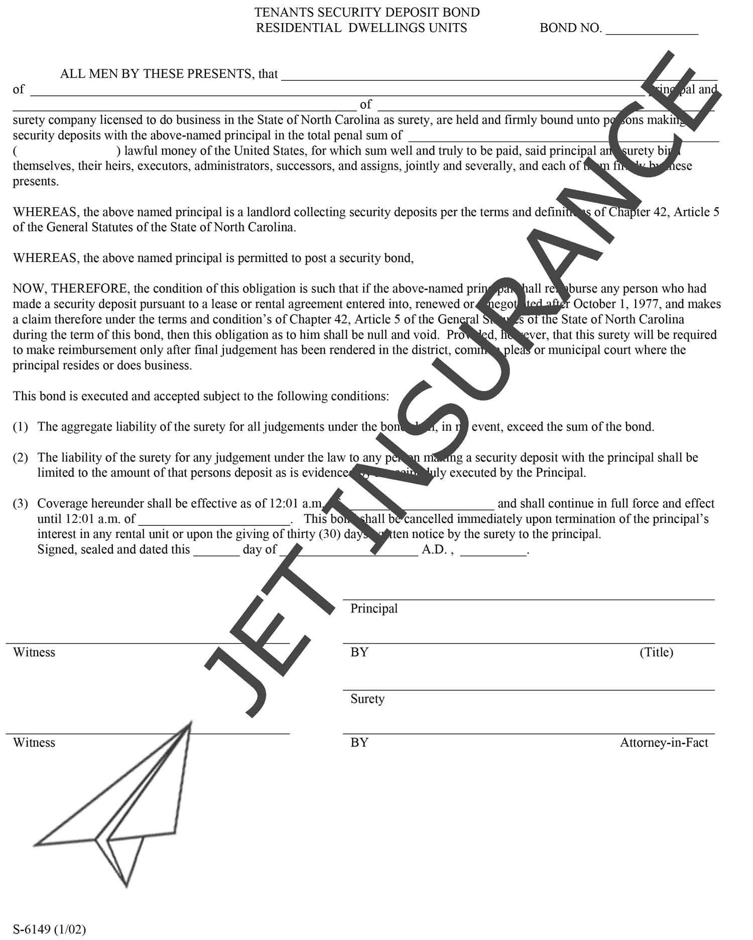 North Carolina Tenant Security Deposit Bond Form
