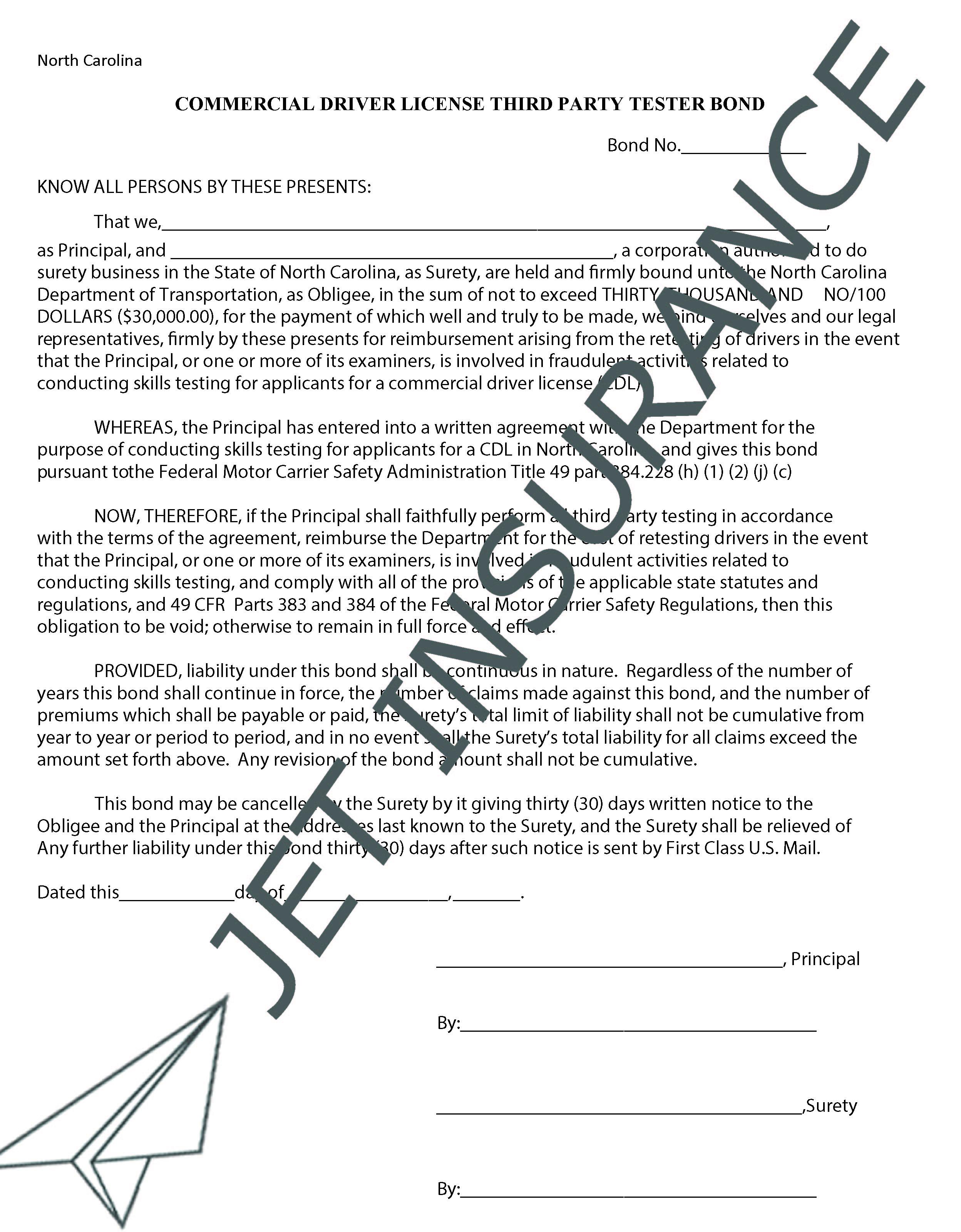 North Carolina Third Party CDL Testing Bond Form