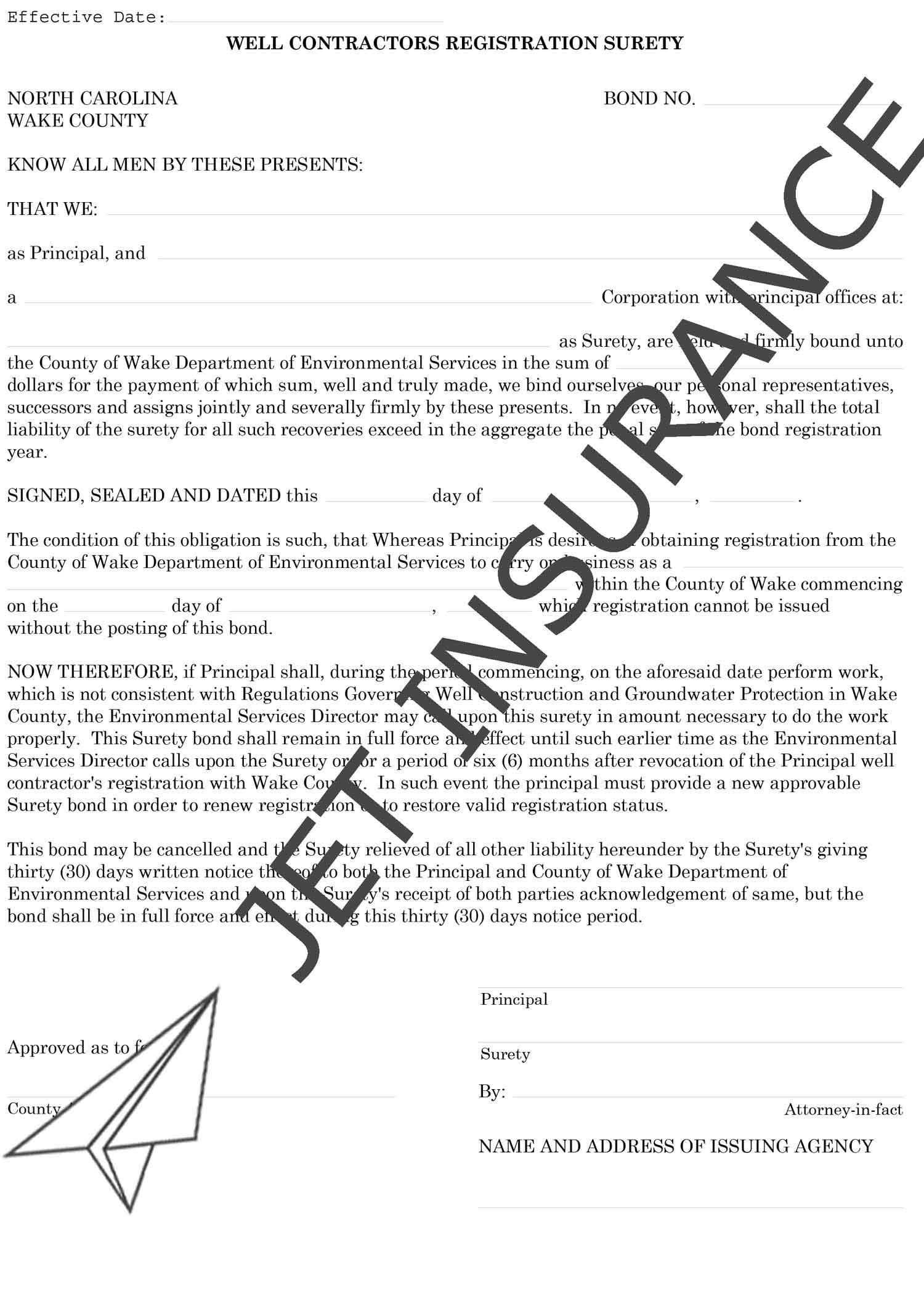Wake County North Carolina Well Contractor Bond Form