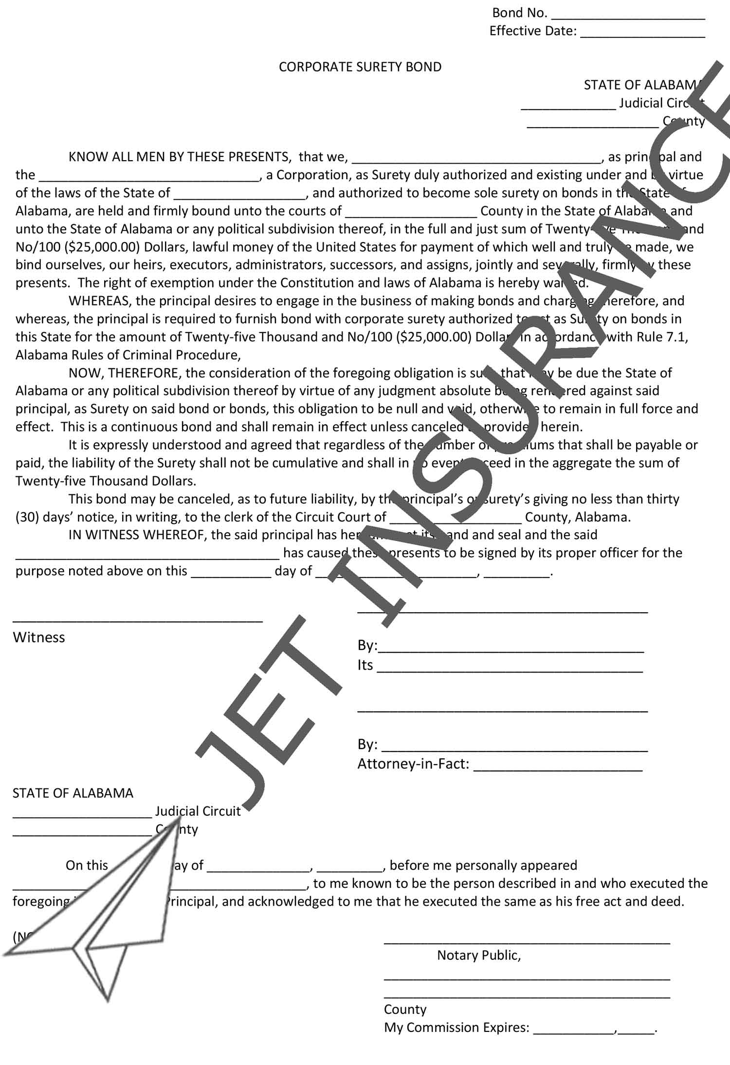 Alabama Bail Bondsman Bond Form