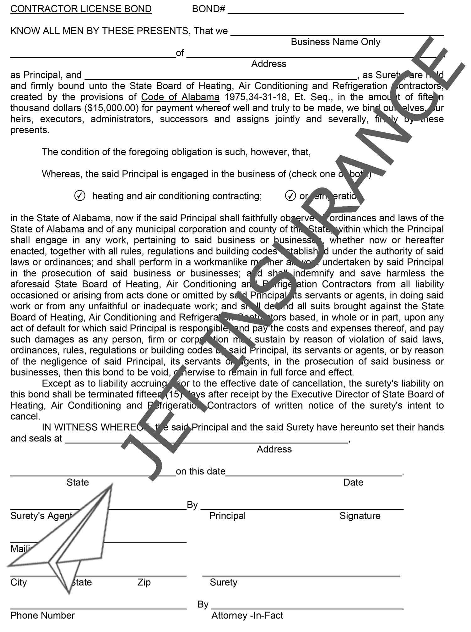 Alabama HVAC and Refrigeration Contractor Bond Form