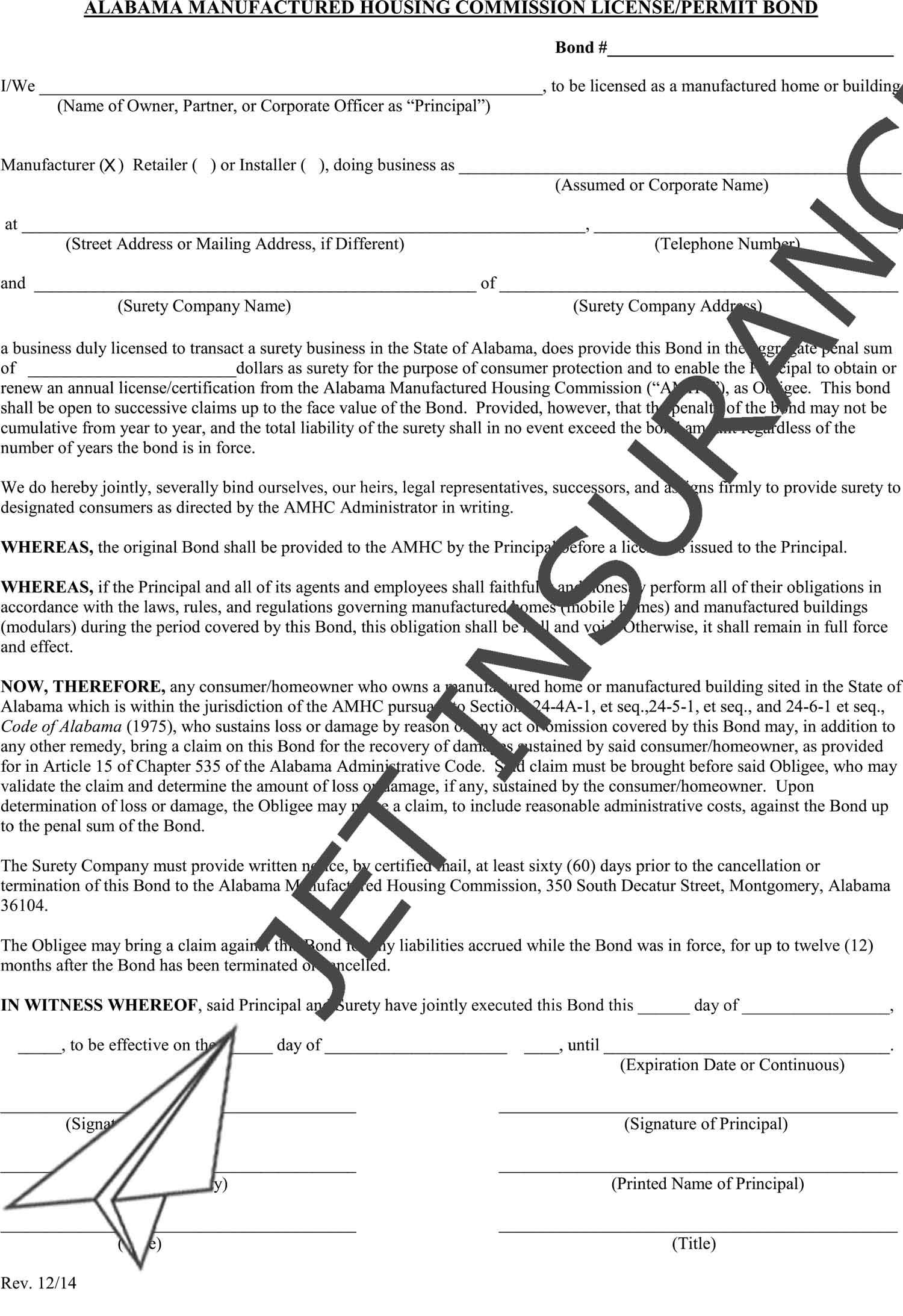 Alabama Manufactured Housing Bond Form