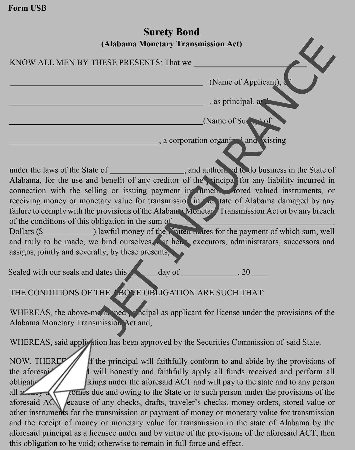 Alabama Money Transmitter Bond Form