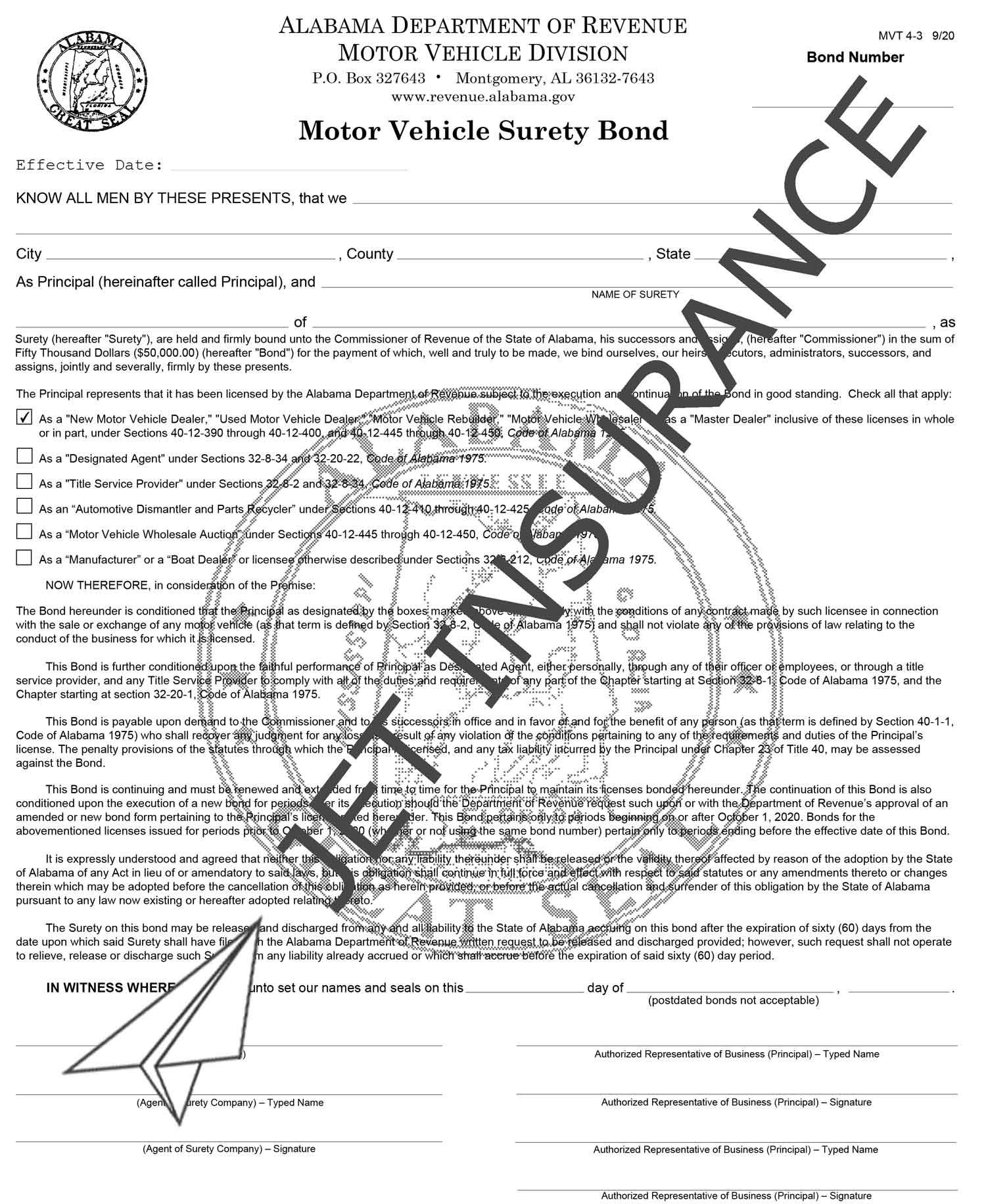 Alabama Auto Dealer Bond Form