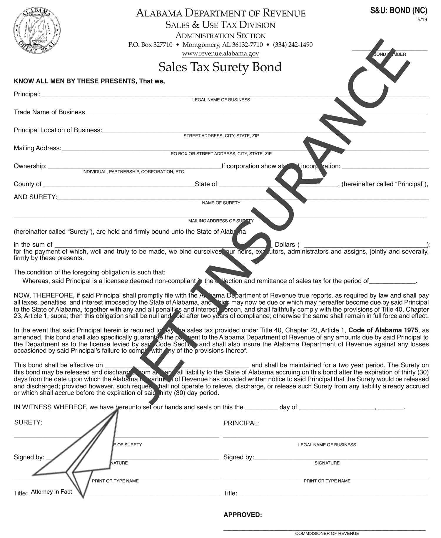 Alabama Non-Compliance Sales Tax Bond Form