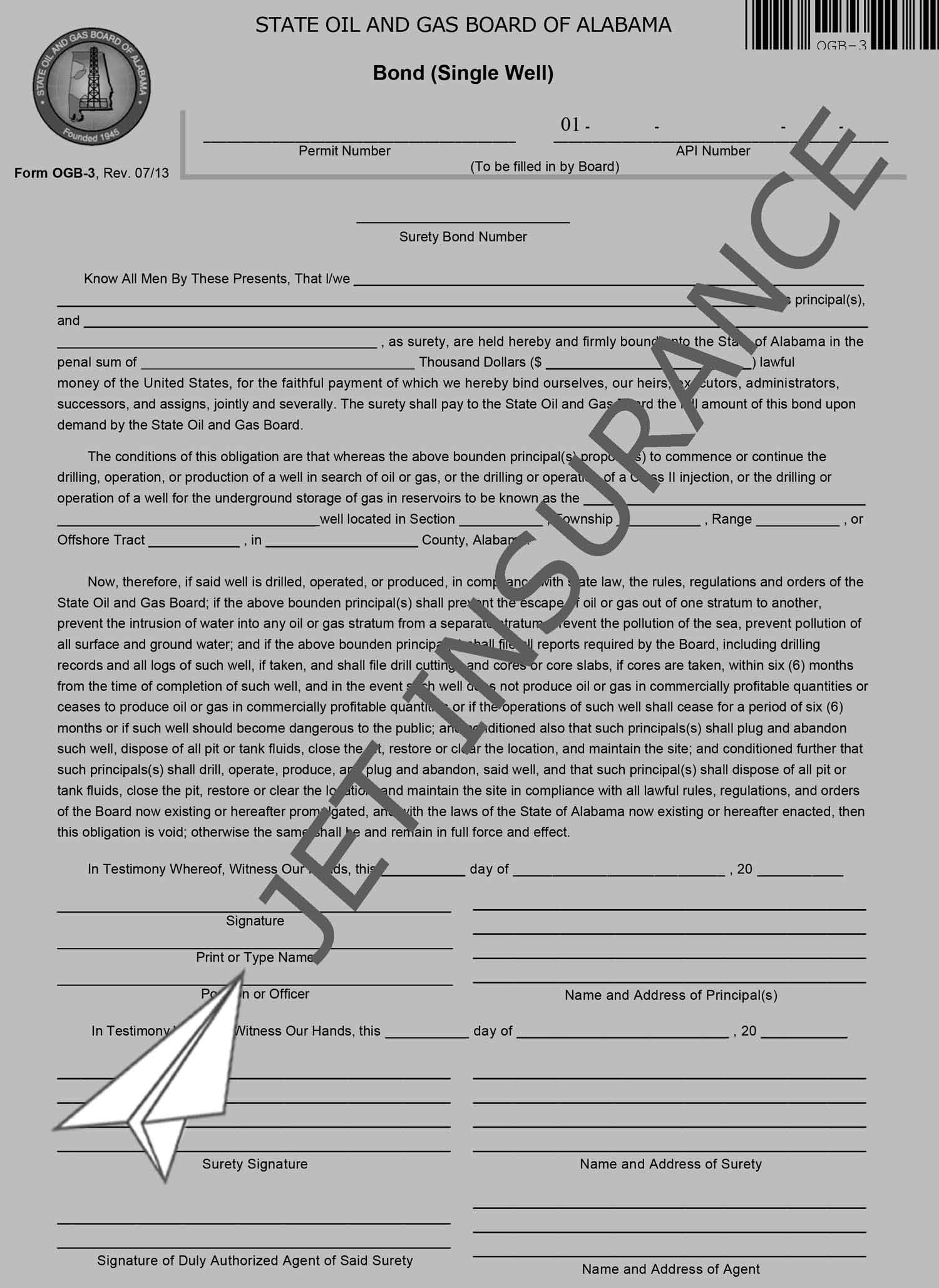 Alabama Oil and Gas Well Bond Form