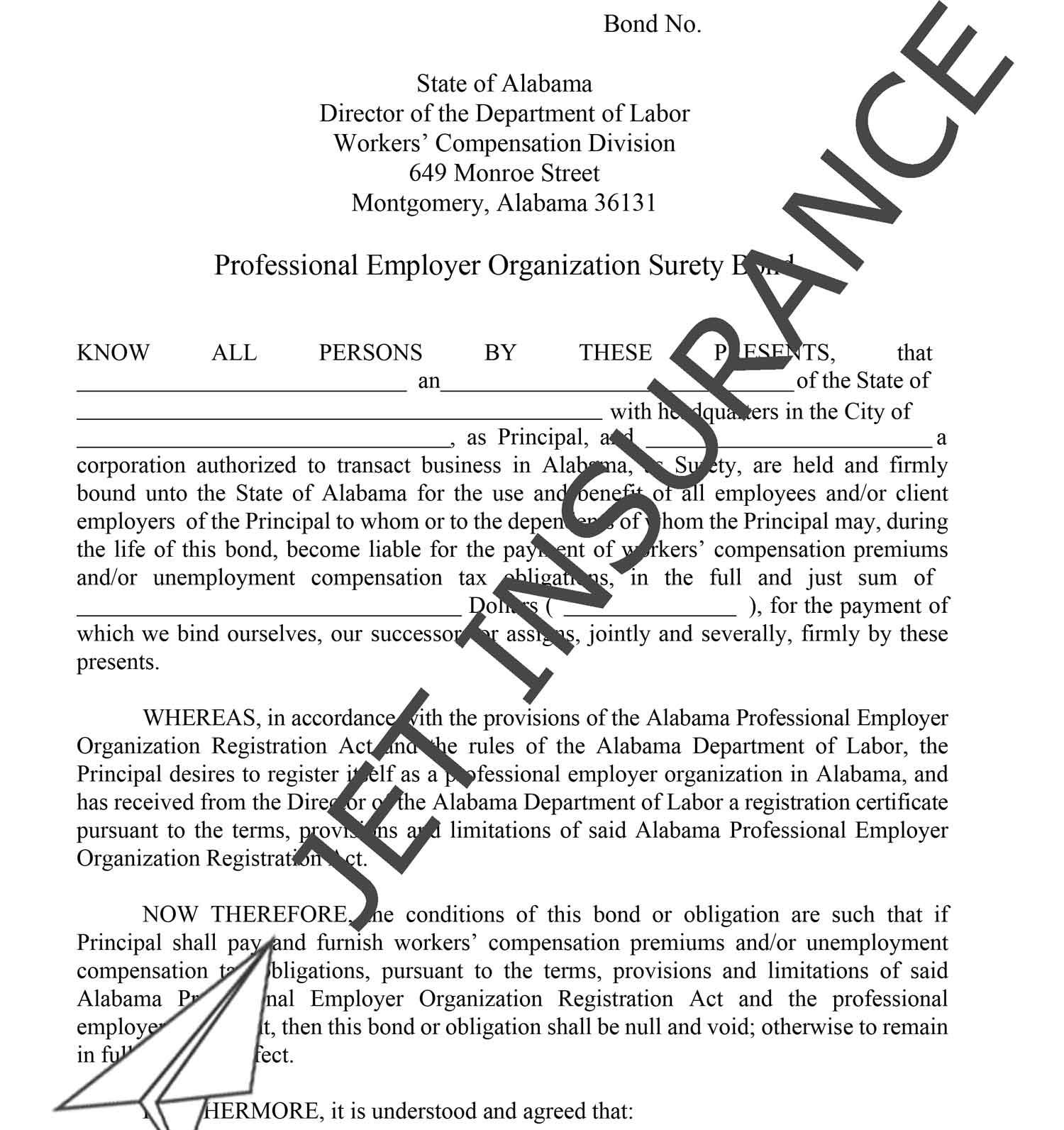 Alabama Professional Employer Organization Bond Form