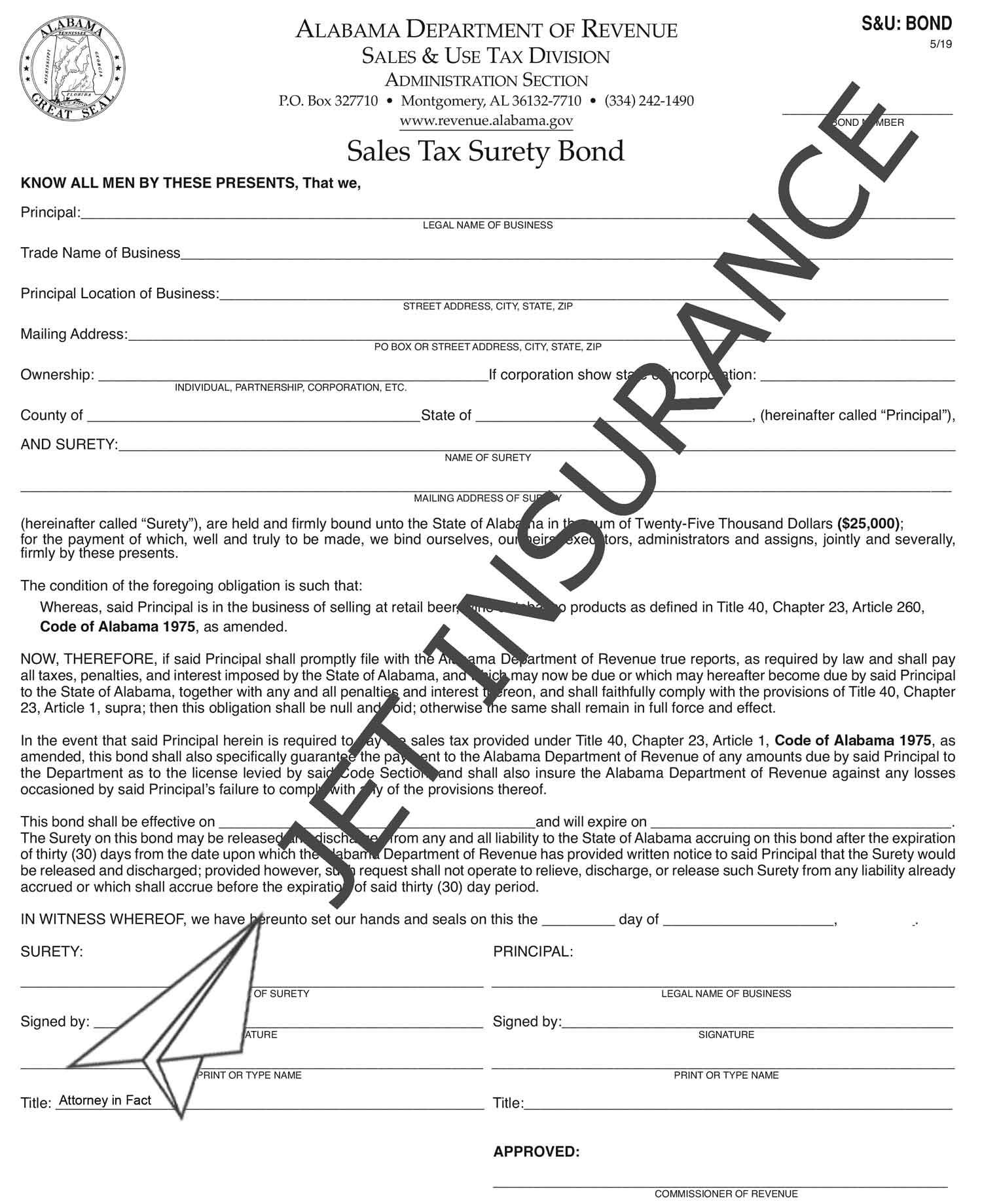 Alabama Sales Tax Bond Form