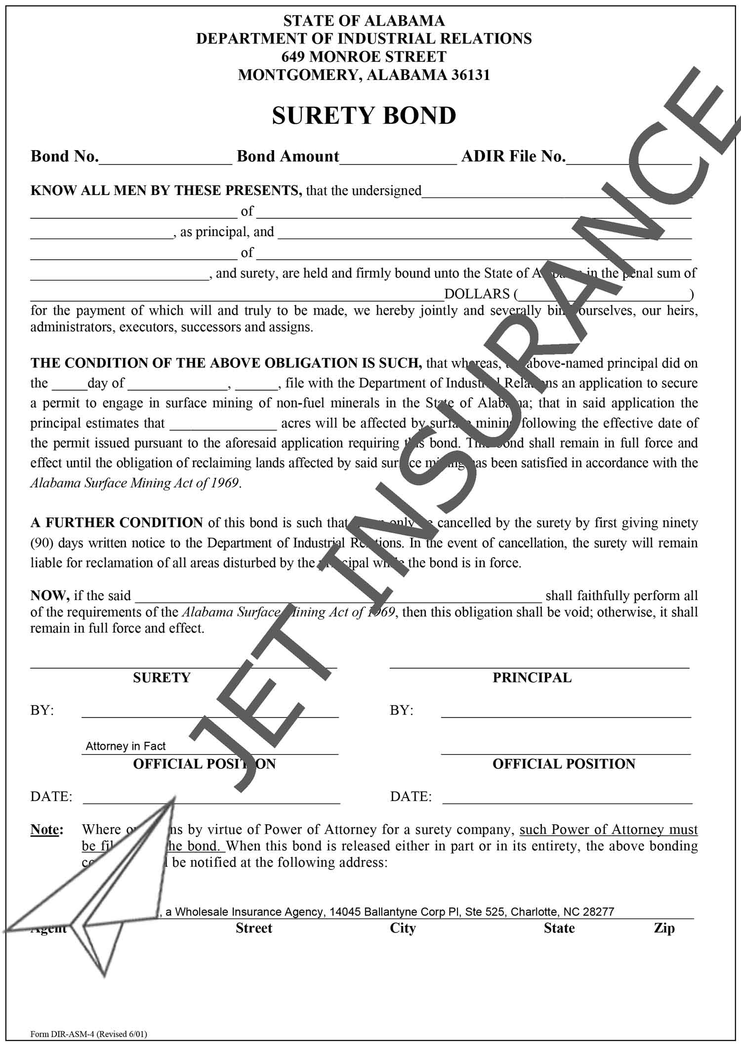 Alabama Surface Mining Bond Form