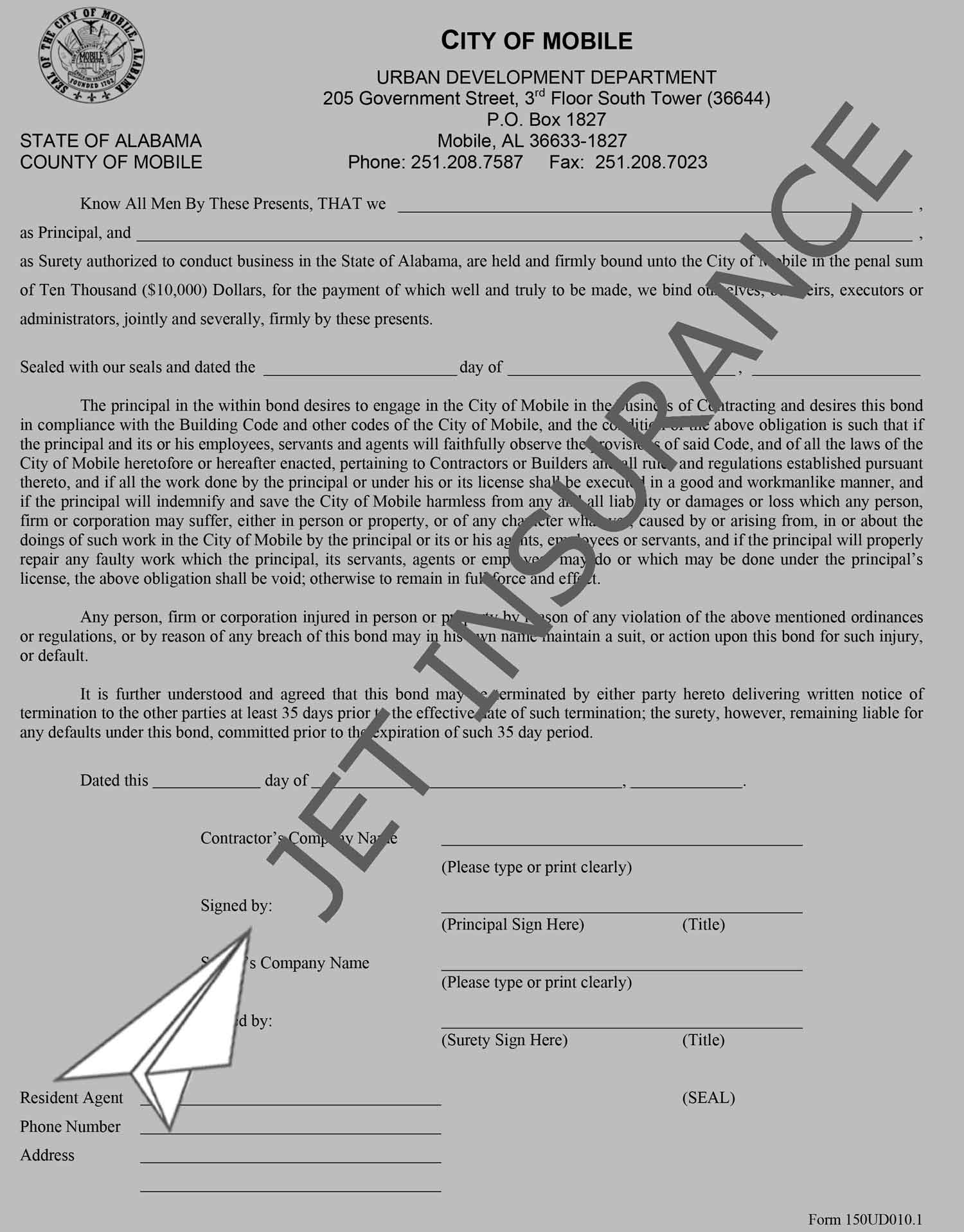 City of Mobile Contractor Bond Form