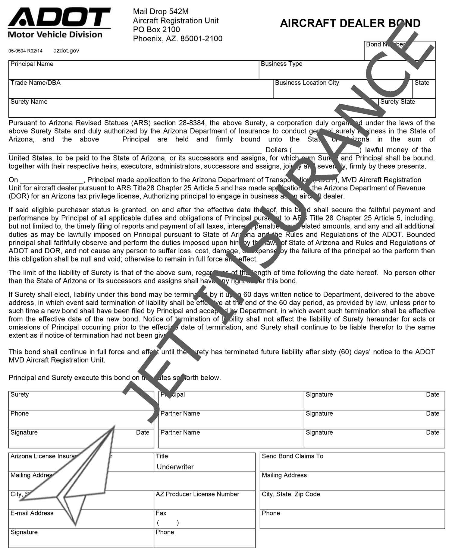Arizona Aircraft Dealer Bond Form