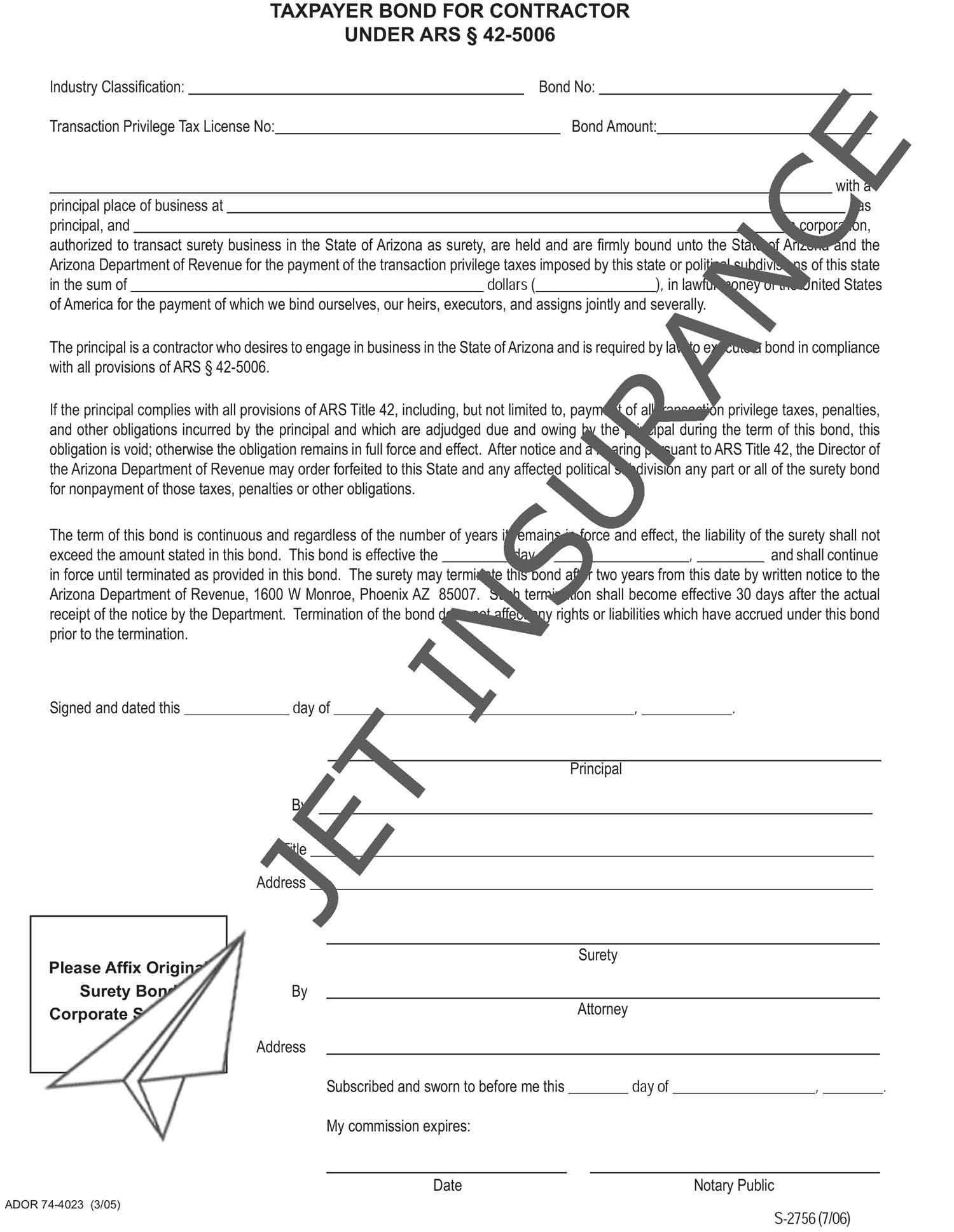 Arizona Contractor License Bond Form