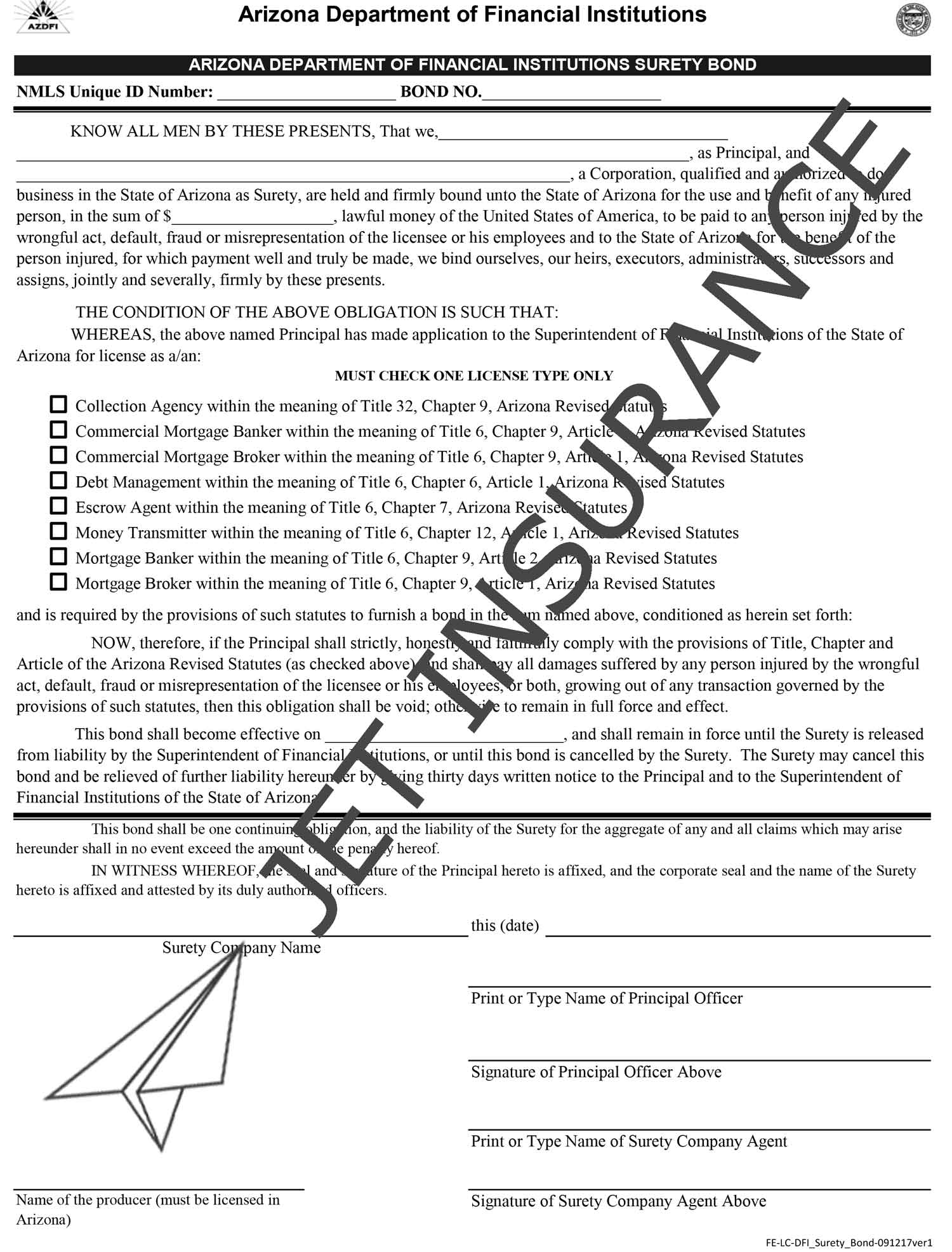 Arizona Debt Management Bond Form
