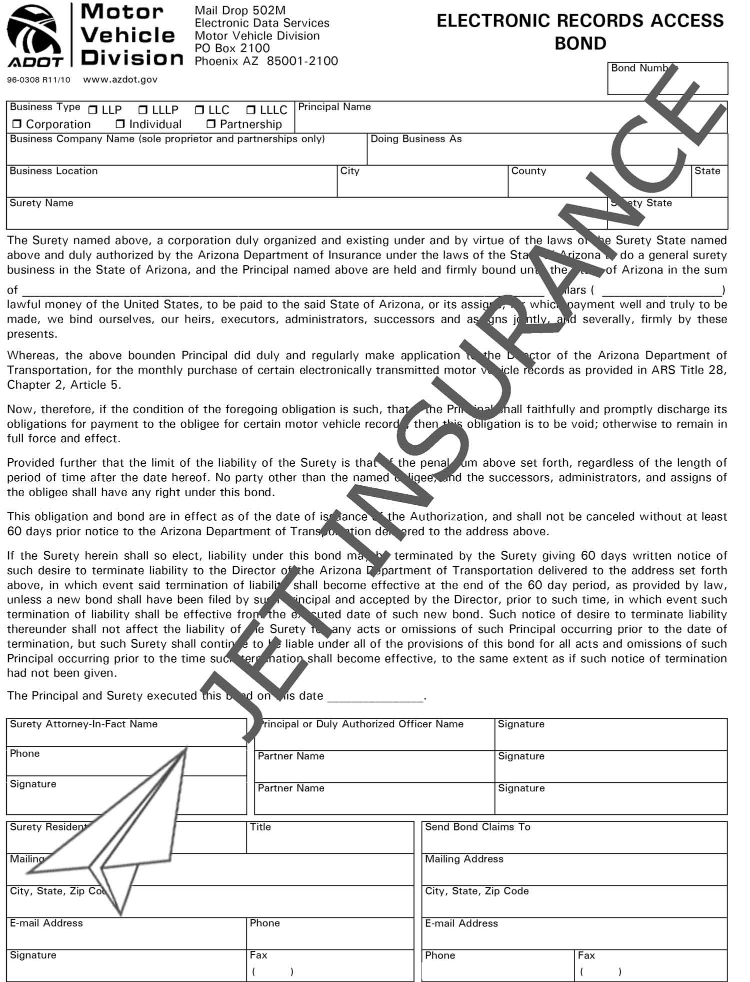 Arizona Electronic Records Access Bond Form
