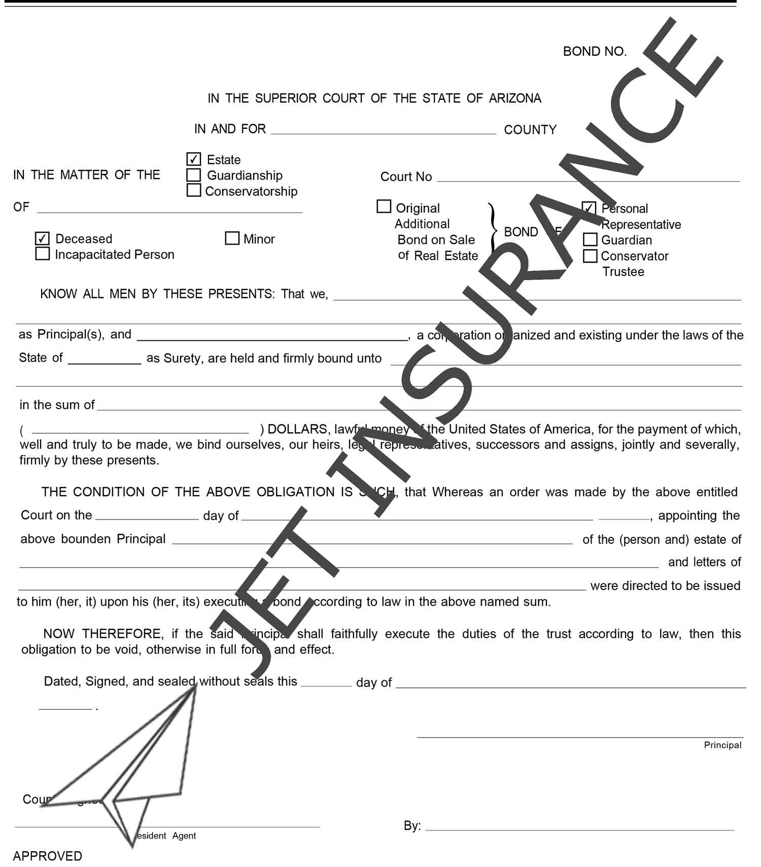 Arizona Administrator and Executor Bond Form