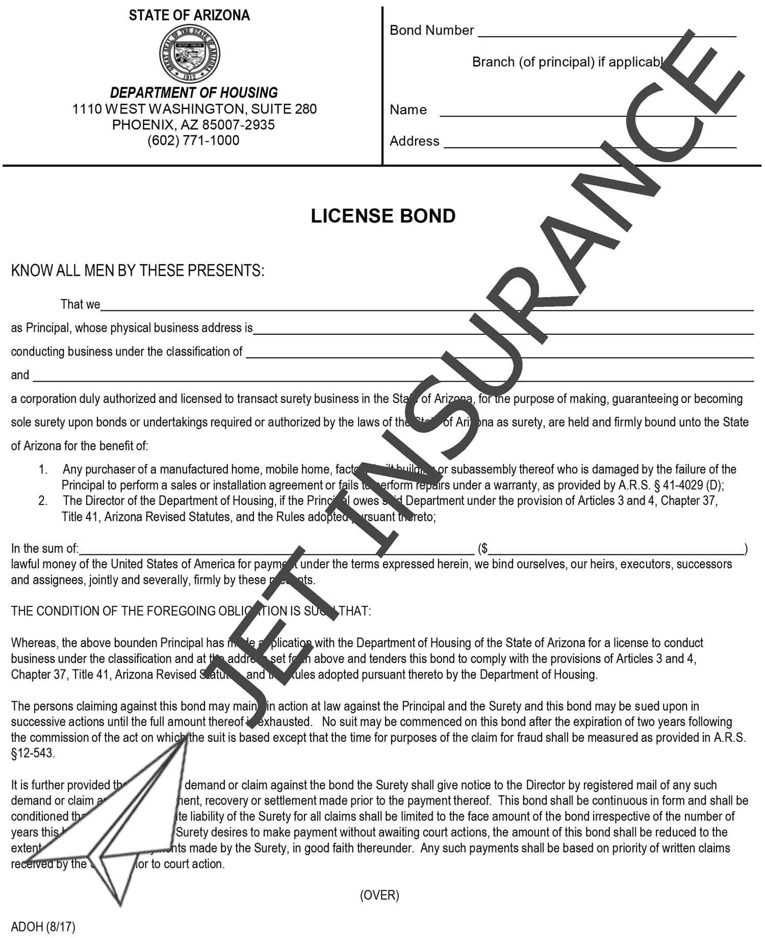 Arizona Manufactured and Mobile Home License Bond