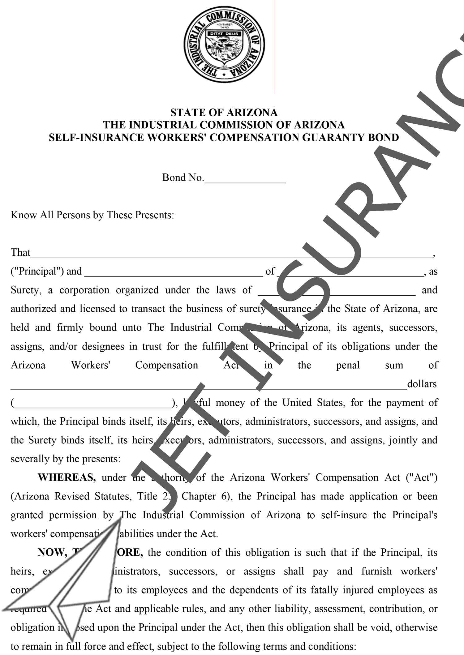 Arizona Self-Insurance Workers' Compensation Guaranty Bond Form