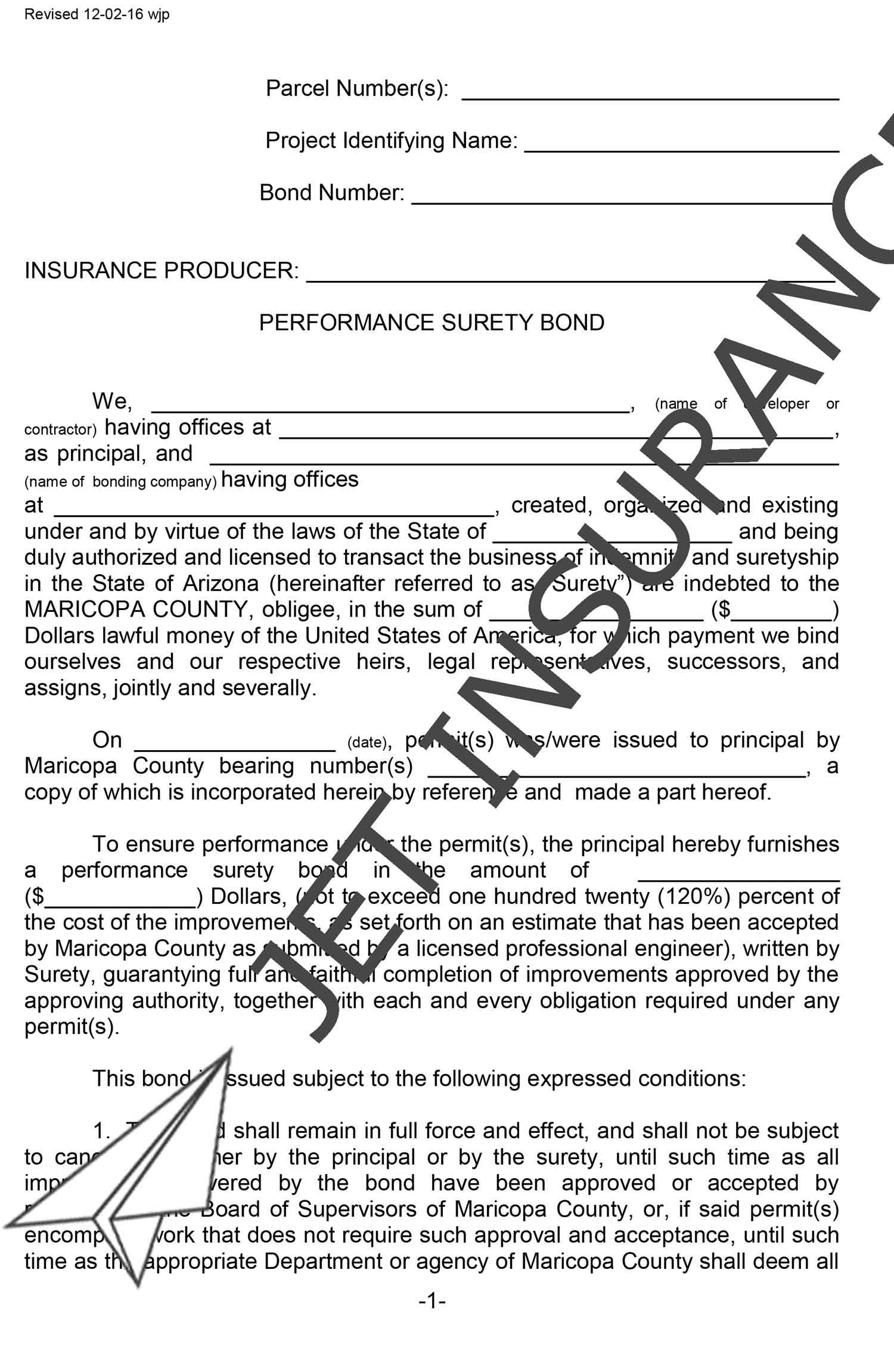 Maricopa County Arizona Right-of-Way Performance Bond Form