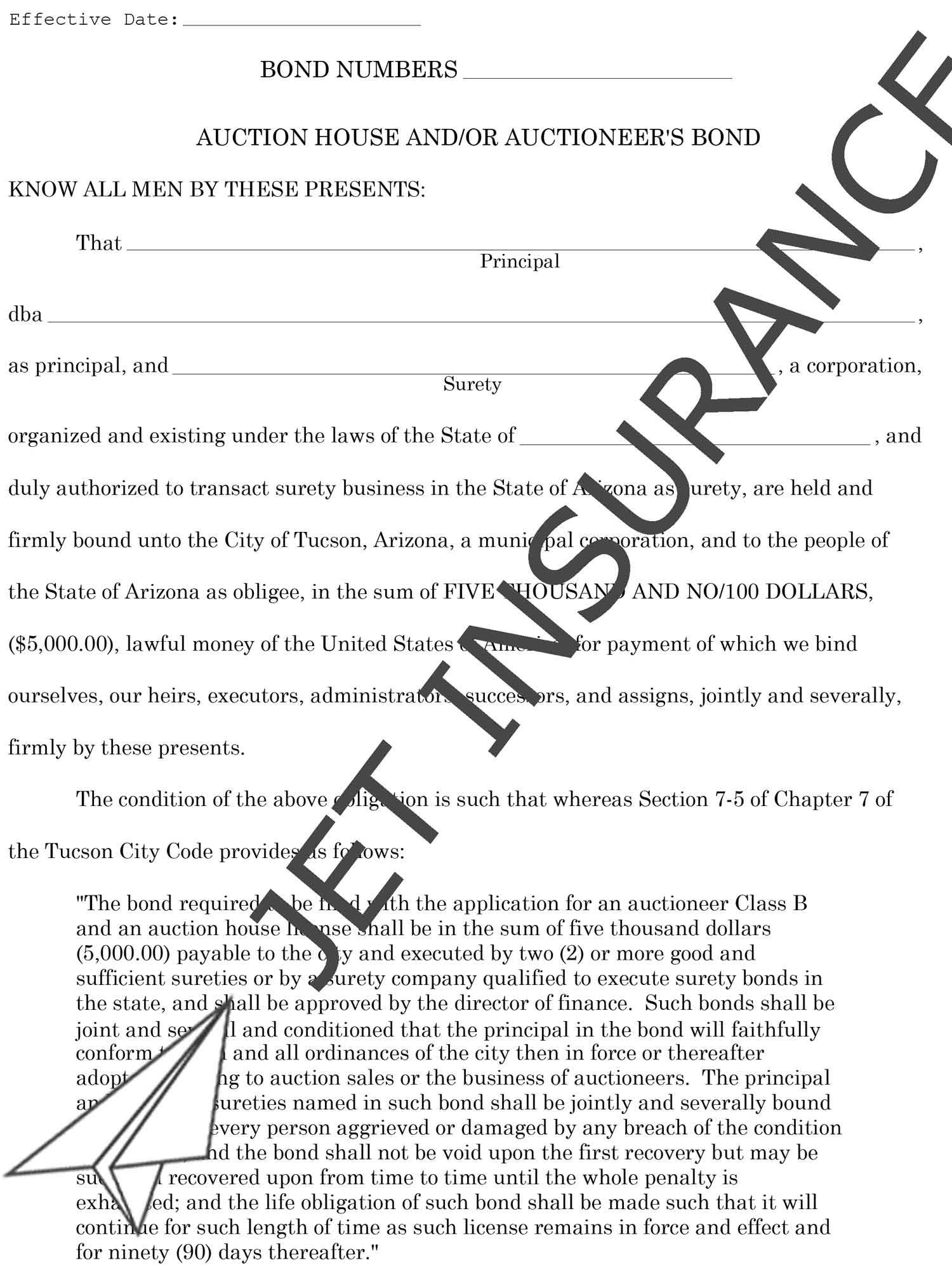 Tucson Arizona Auctioneer Bond Form