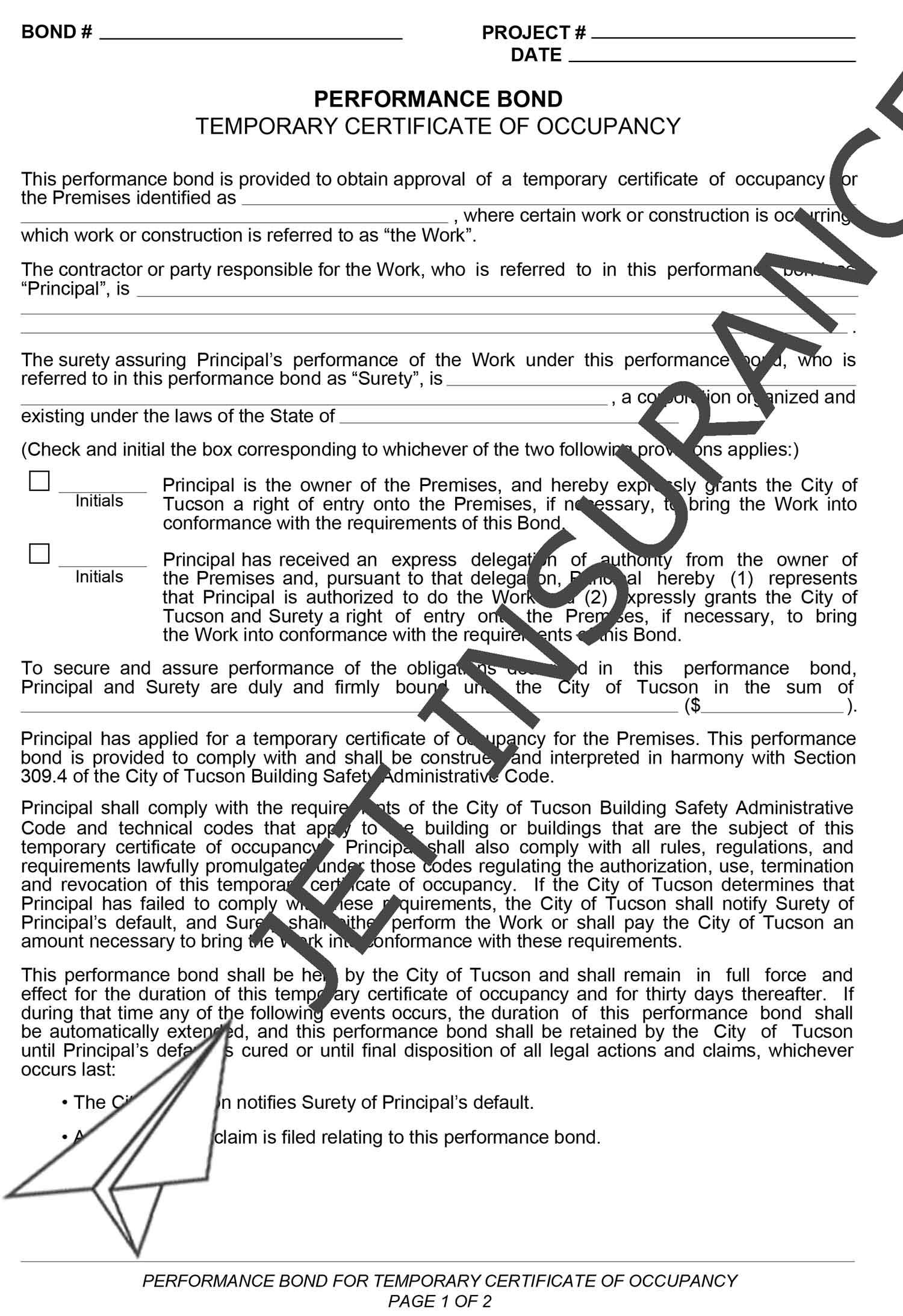 Tucson Arizona Temporary Certificate of Occupancy Performance Bond