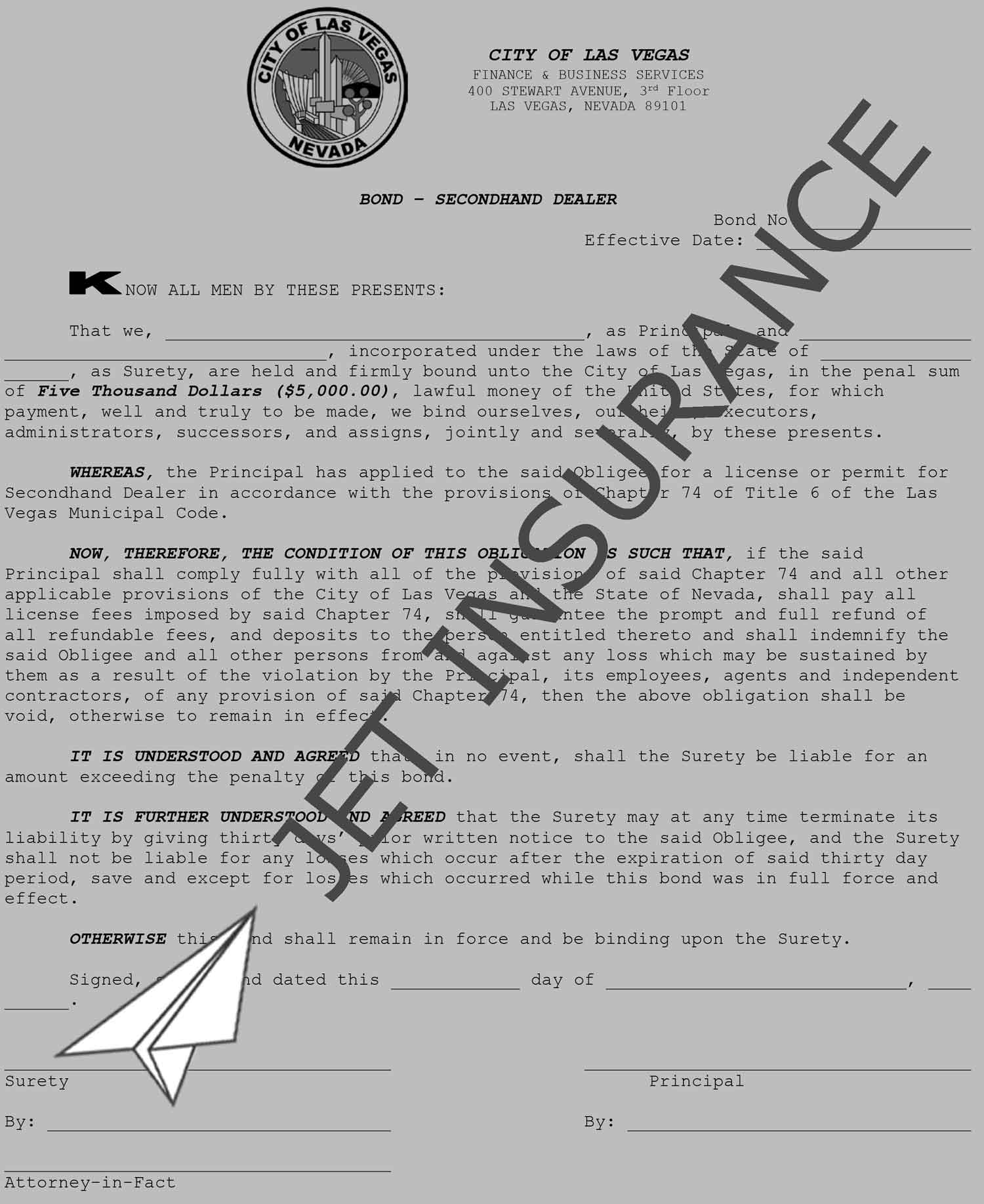 Las Vegas Nevada Secondhand Dealer Bond Form