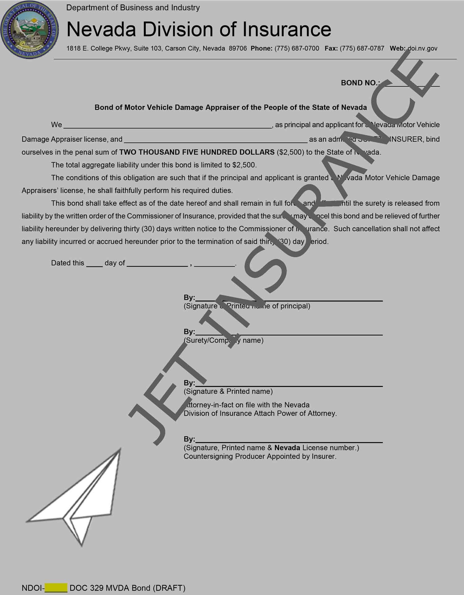 Nevada Motor Vehicle Damage Appraiser Bond Form