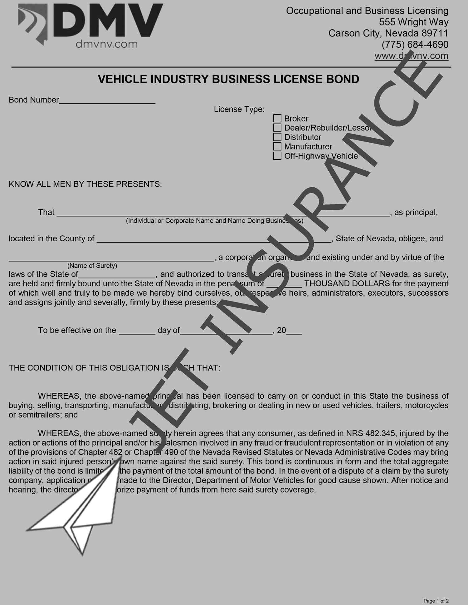 Nevada Auto Dealer License Bond Form
