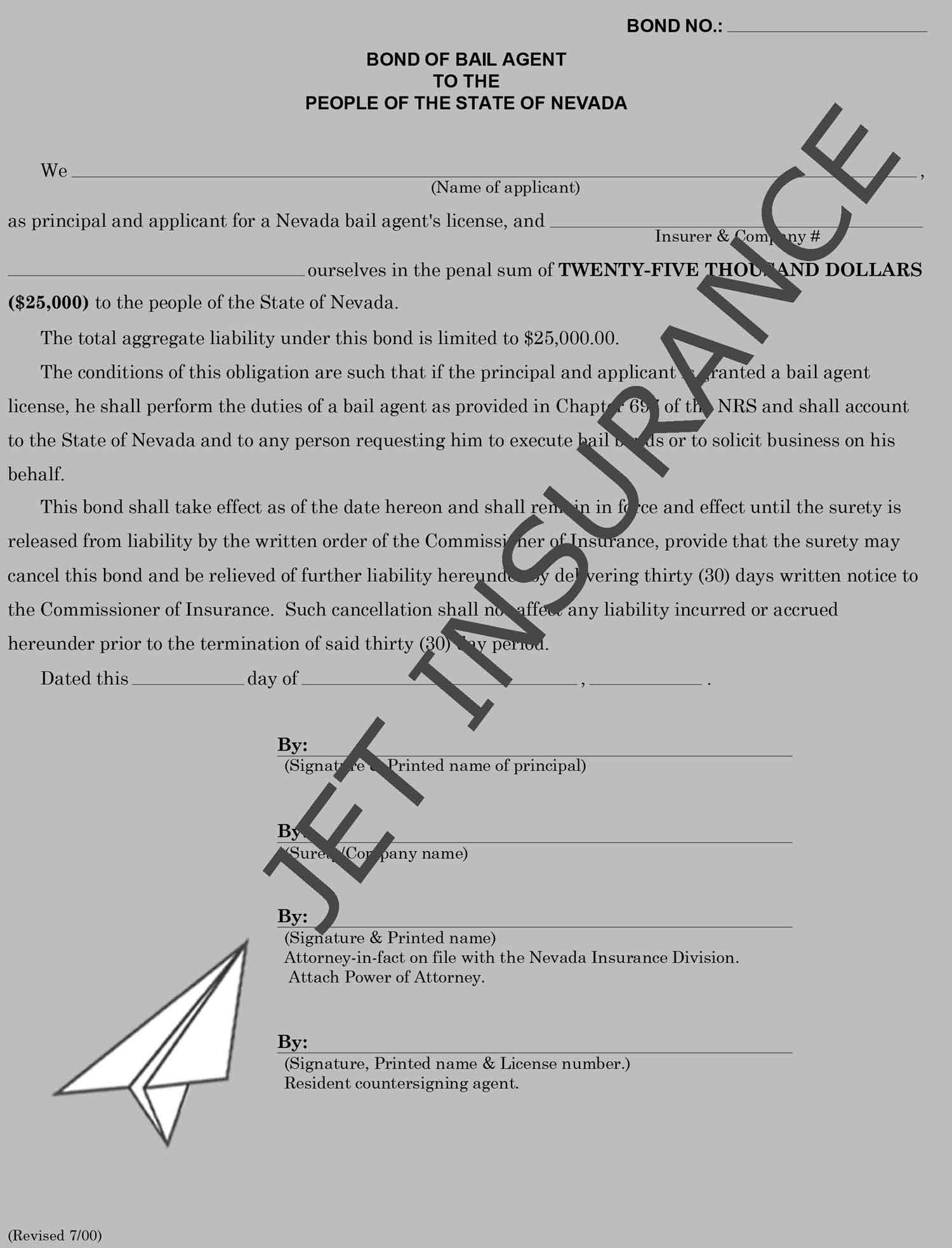 Nevada Bail Agent License Bond Form