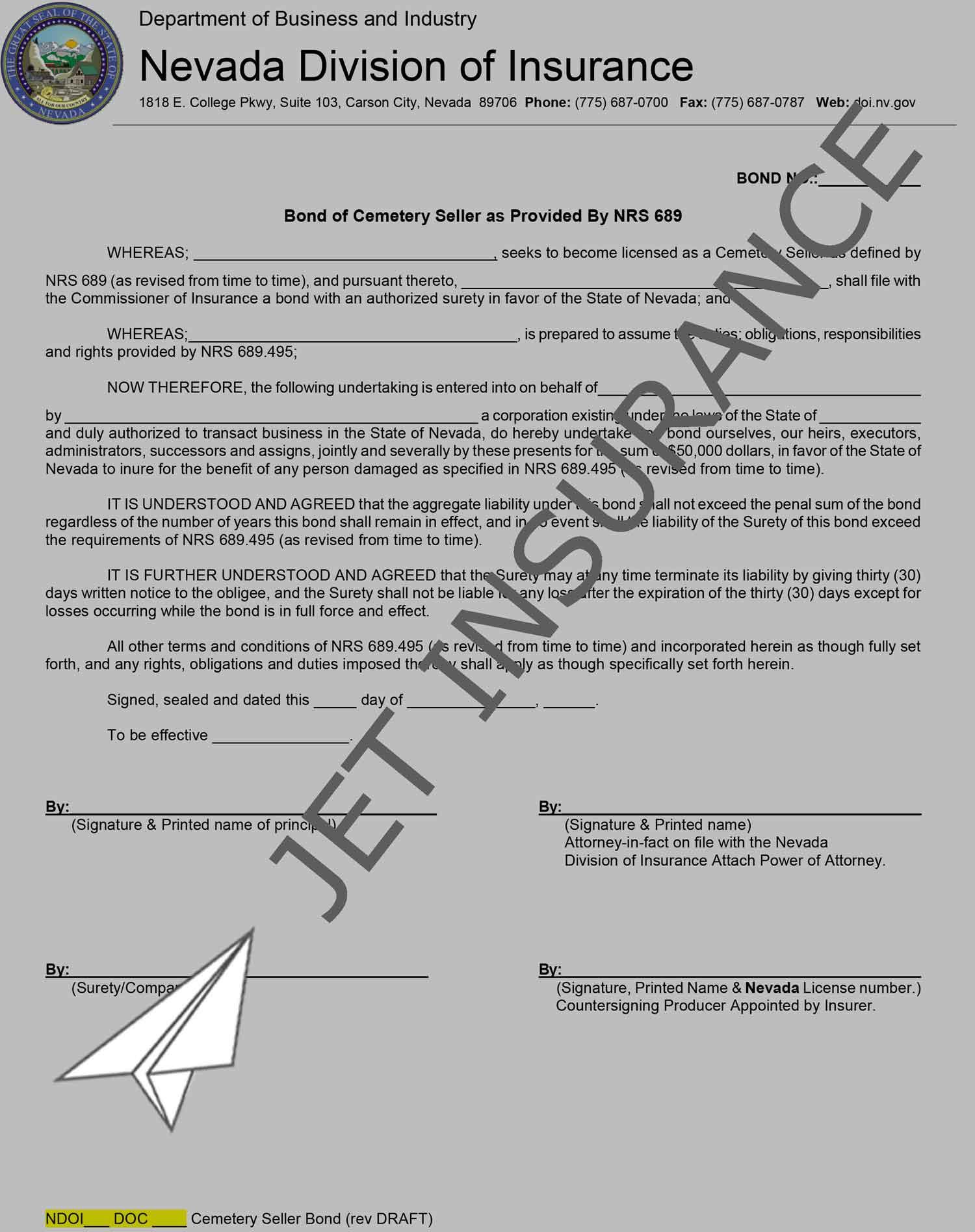 Nevada Cemetery Seller Bond Form