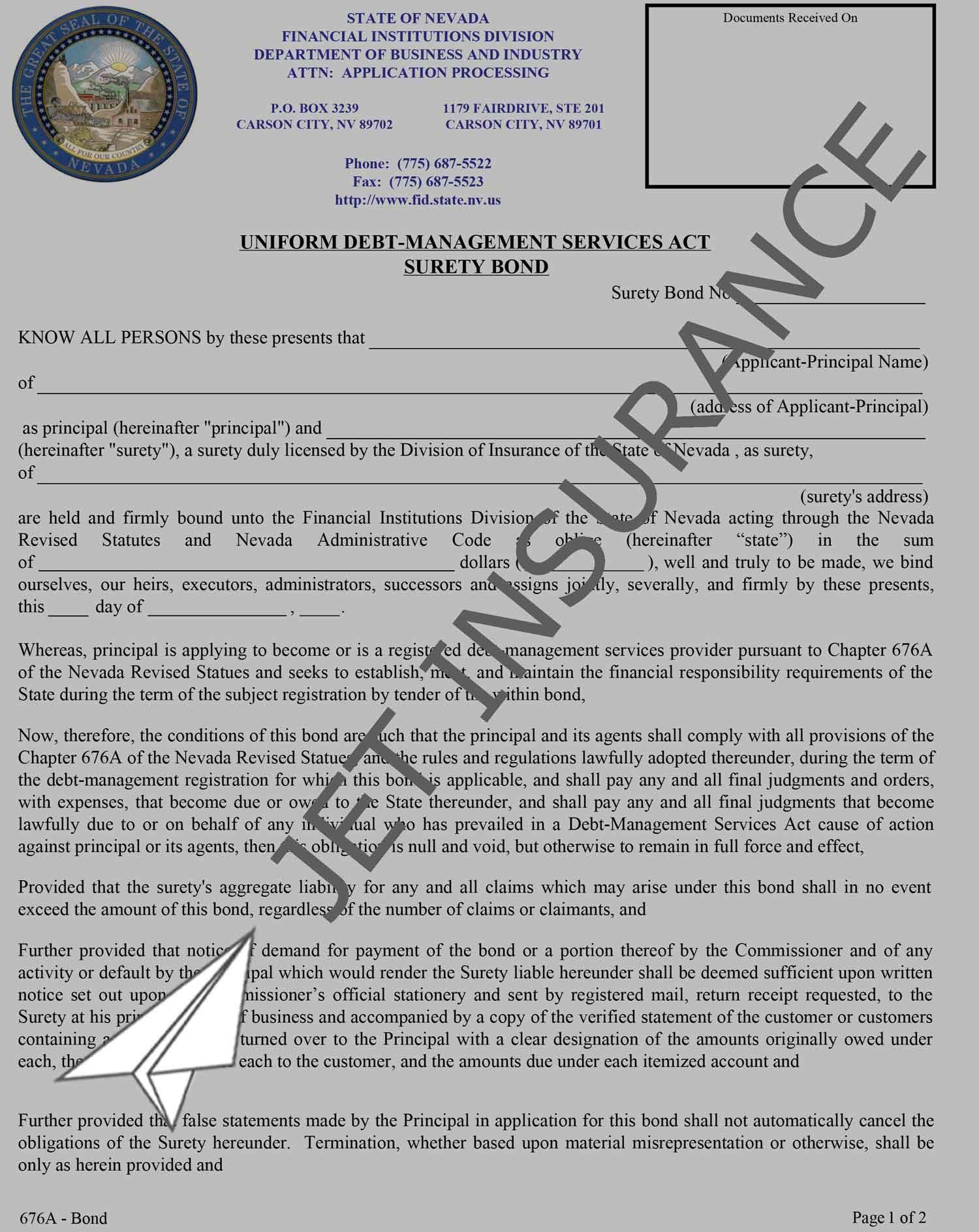 Nevada Debt Management Services Bond Form