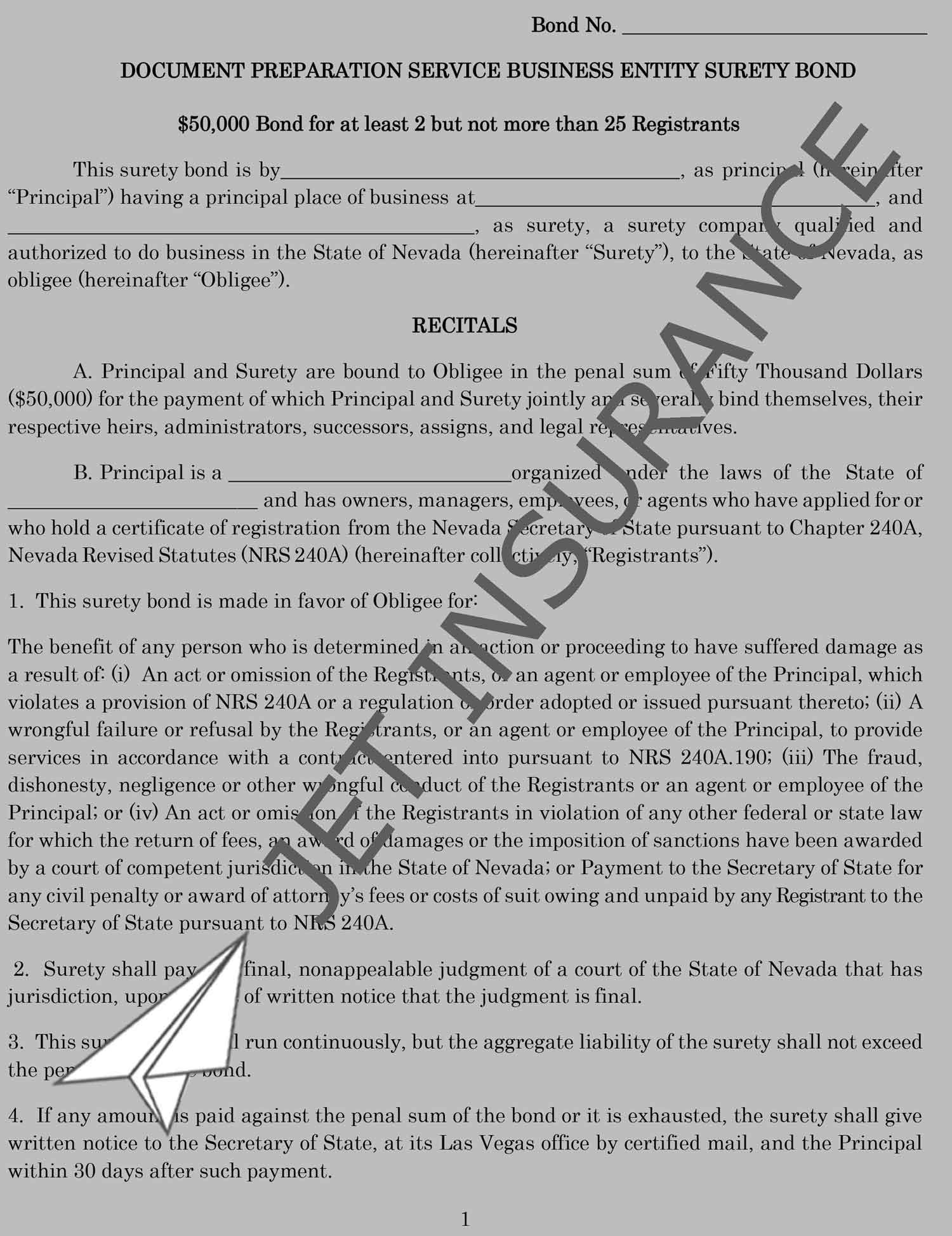 Nevada Document Preparation Service Bond Form
