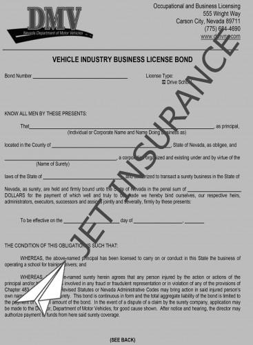 Nevada Driving School Bond Form